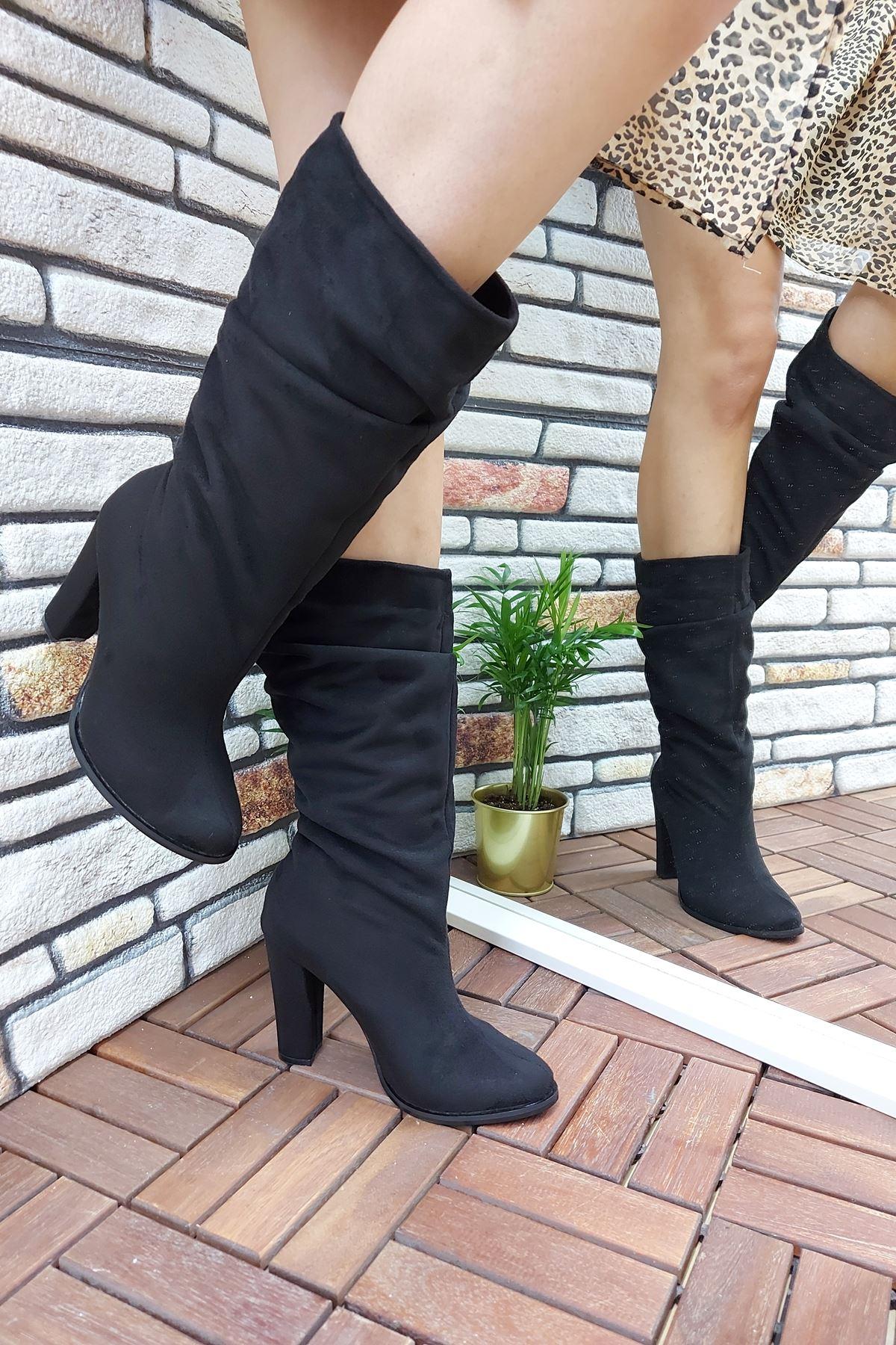 Siyah Süet Kadın Bot & Kadın Çizme