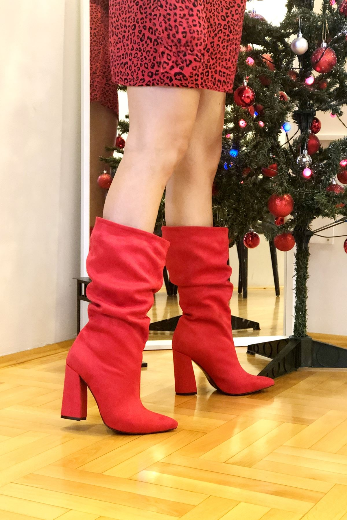 Likardi Kırmızı Süet Körüklü Çizme