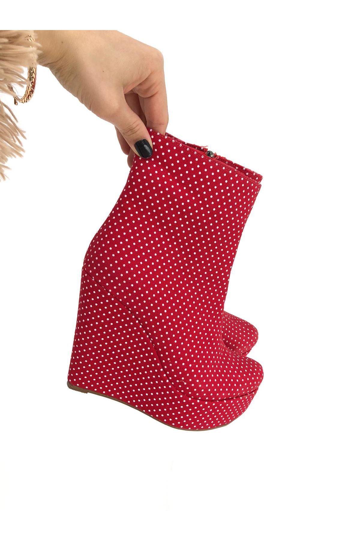 Kırmızı Dolgu Topuklu Bot