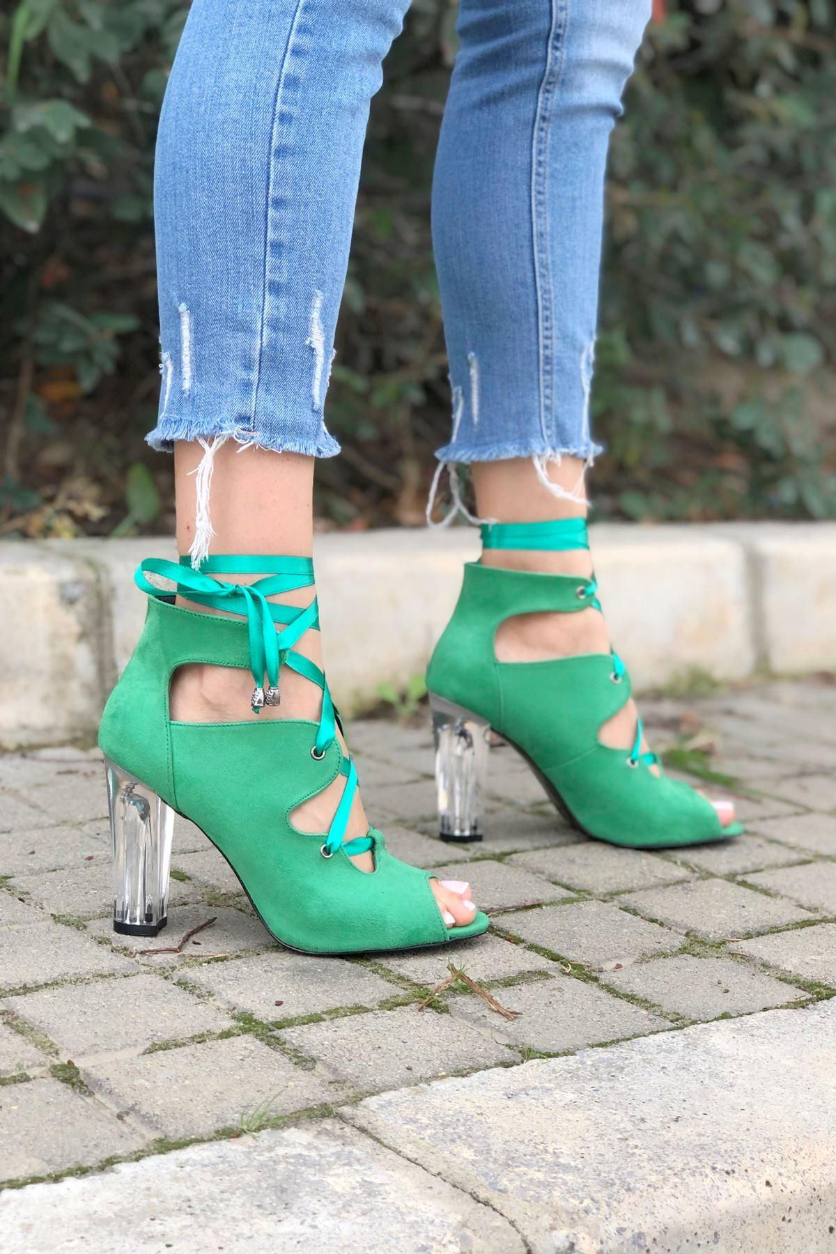 Amata Yeşil Süet Topuklu Kadın Ayakkabı