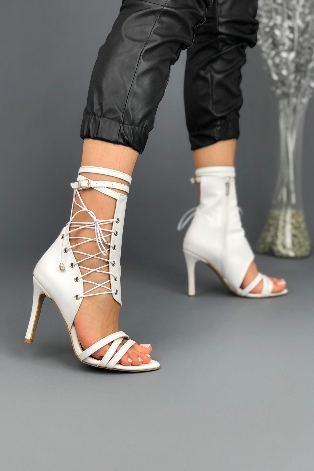 Galya Beyaz Cilt Kadın Topuklu Ayakkabı