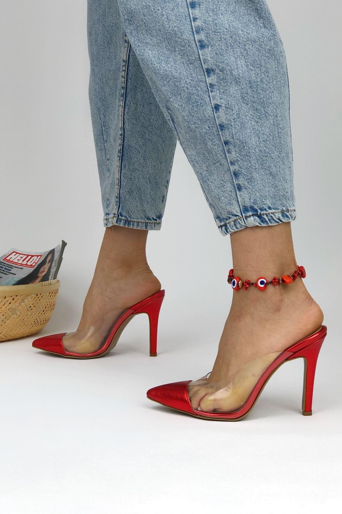 Cros Kırmızı Parlak Topuklu Kadın Terlik