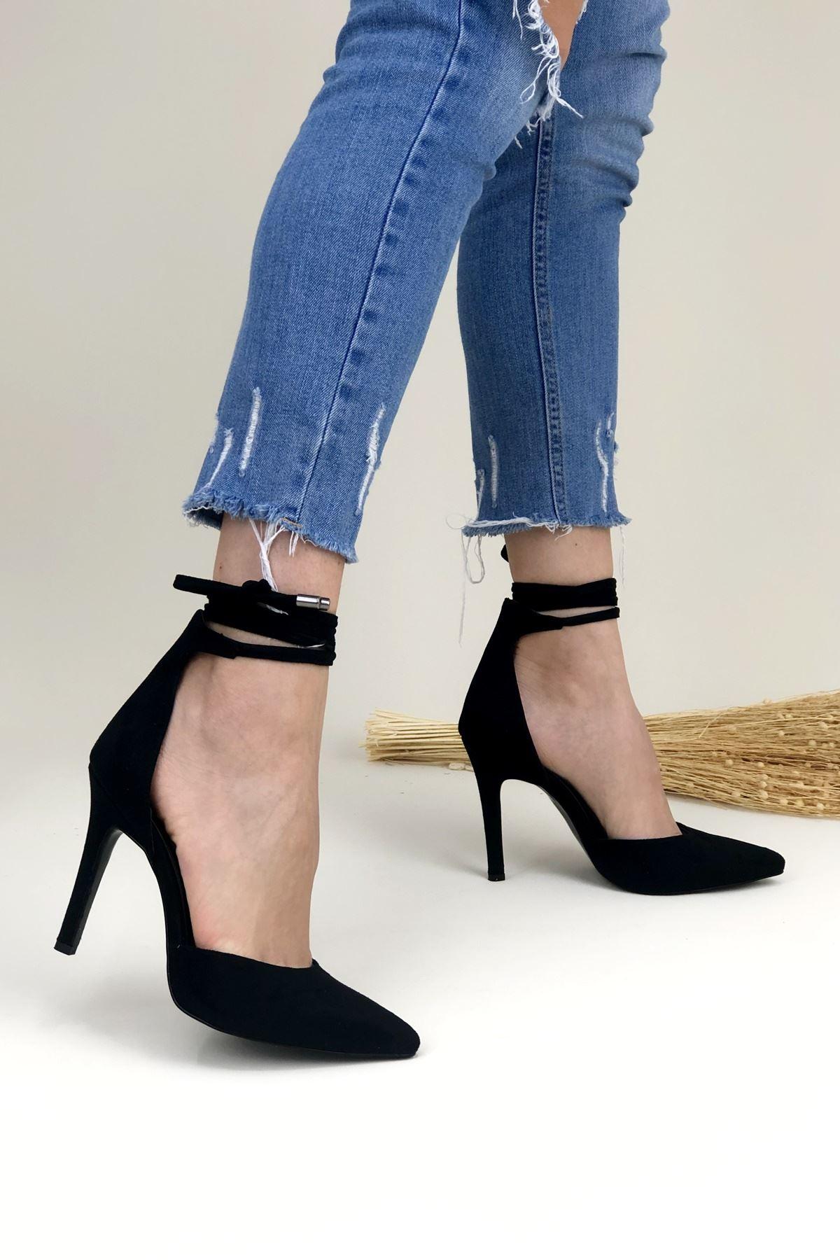 Daris Siyah Süet Topuklu Kadın Ayakkabı