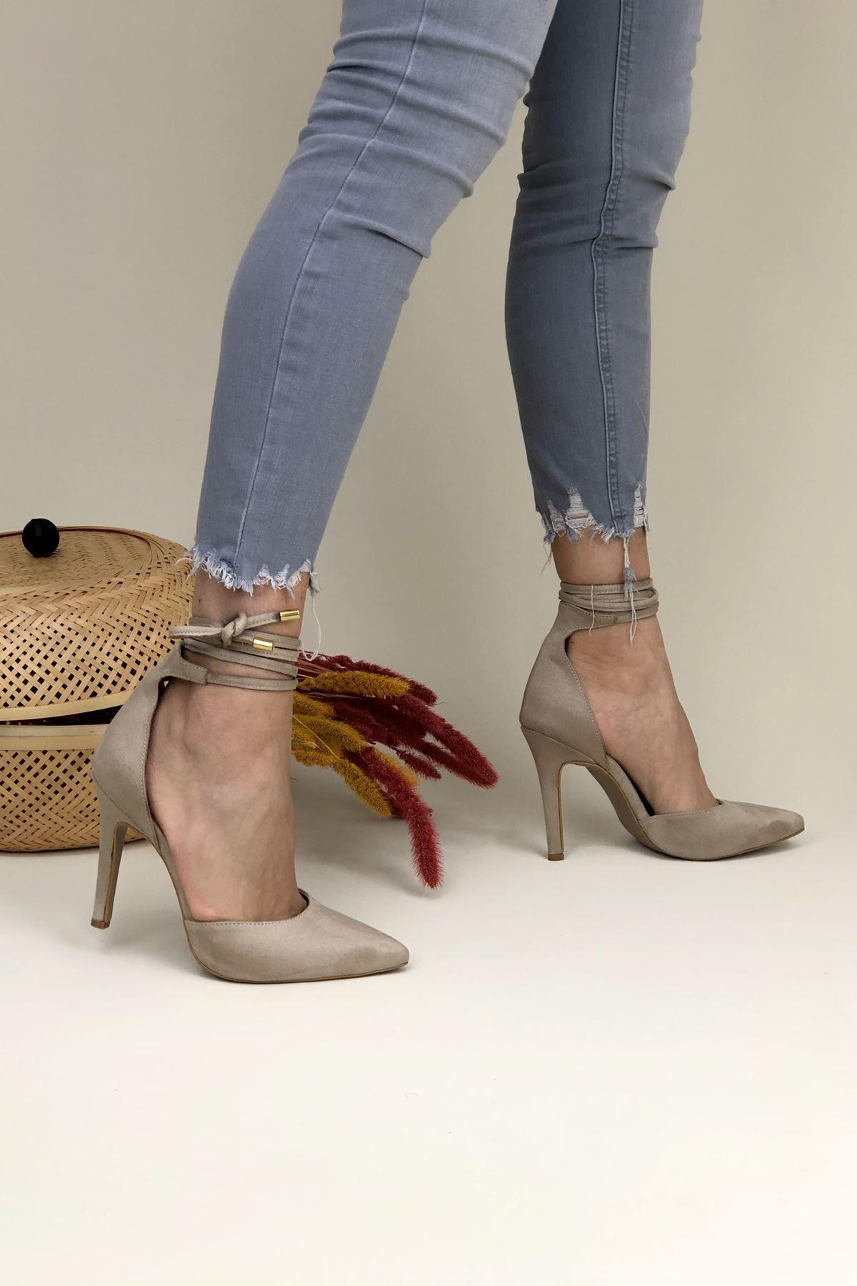 Daris Ten Süet Topuklu Kadın Ayakkabı