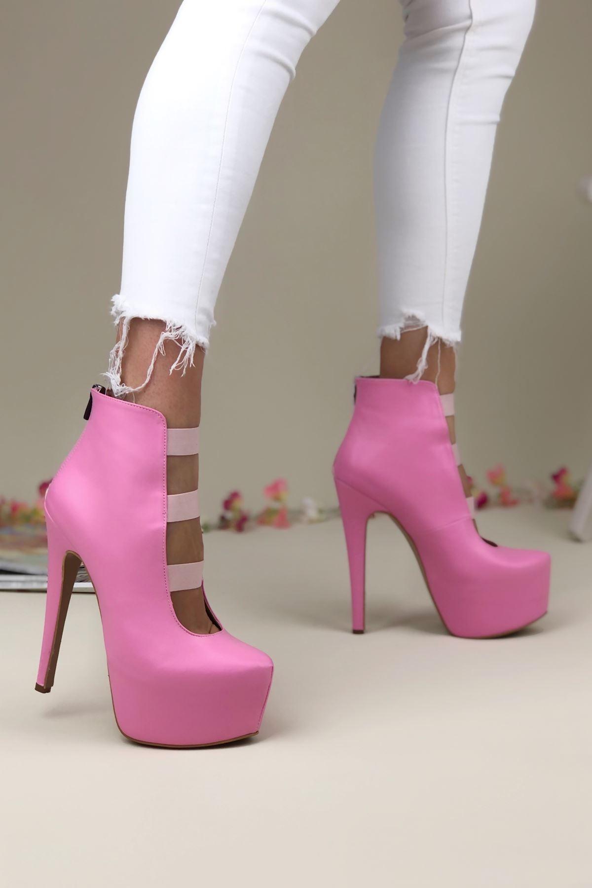 Brandy Pembe Cilt Topuklu Kadın Ayakkabı