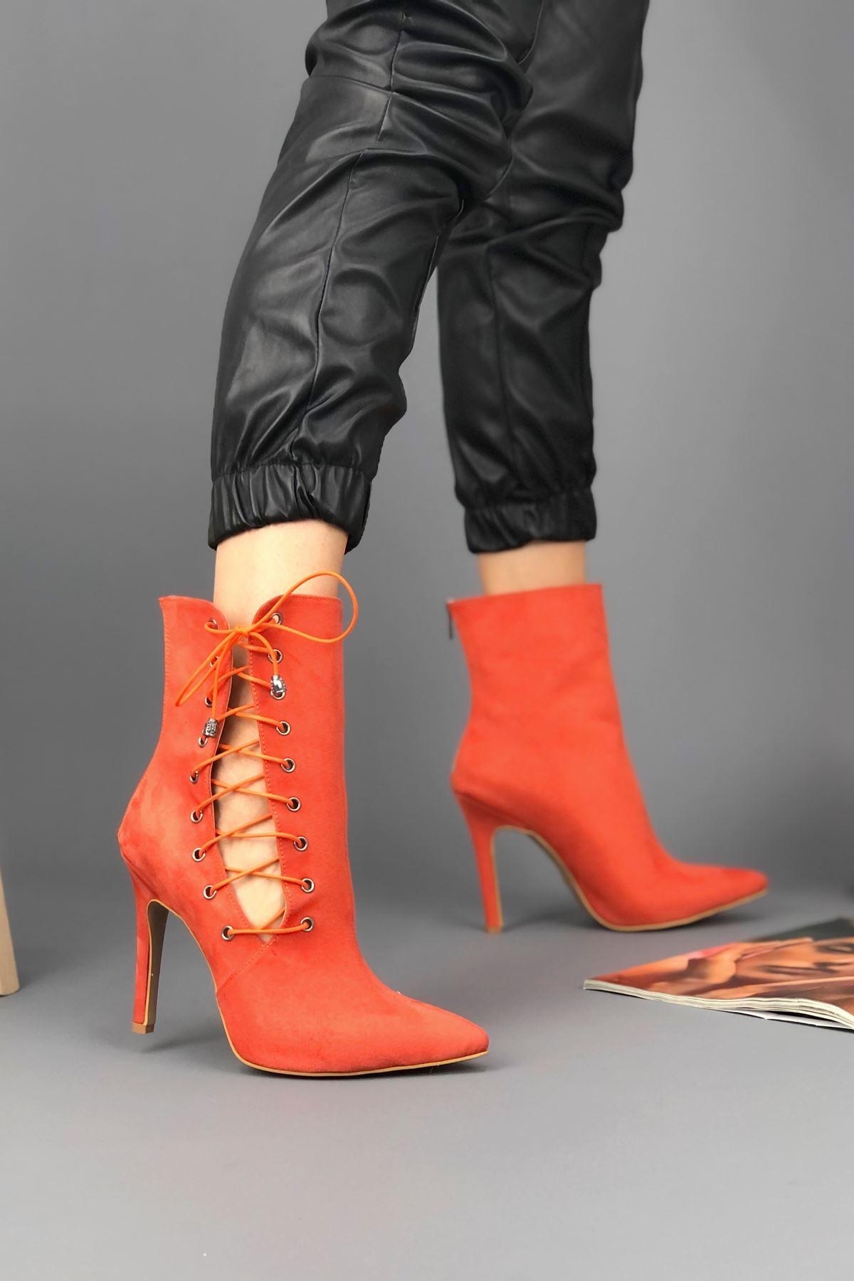 Aida Turuncu Süet Topuklu Kadın Ayakkabı