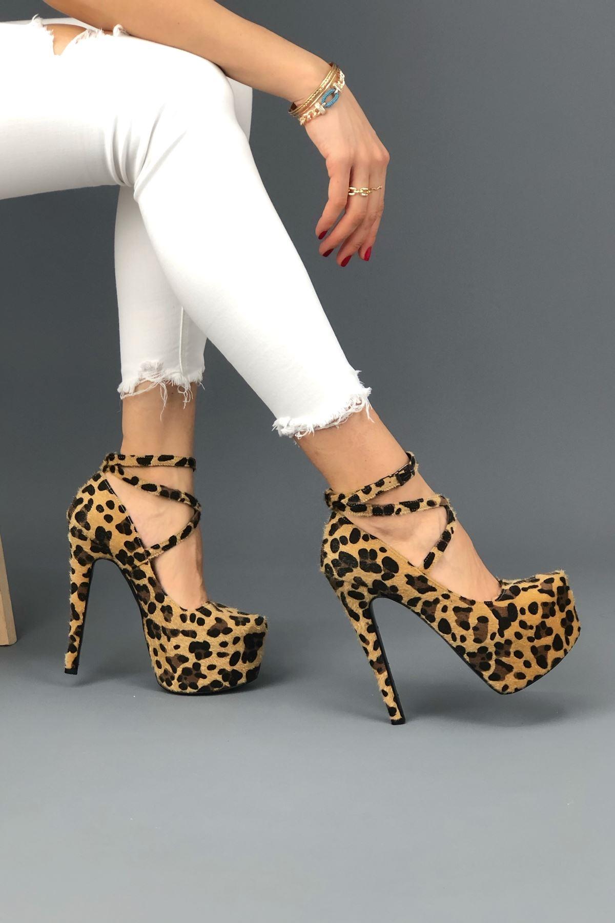 Brione Leopar Topuklu Kadın Ayakkabı