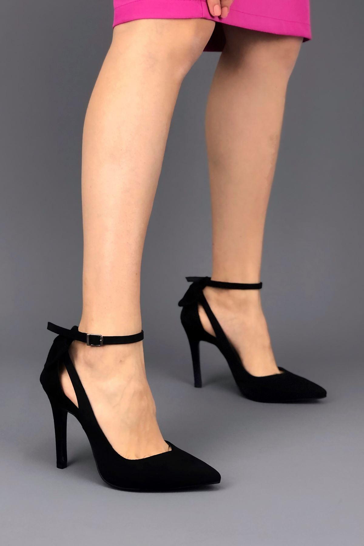 Luther Papyonlu Siyah Süet Kadın Ayakkabı