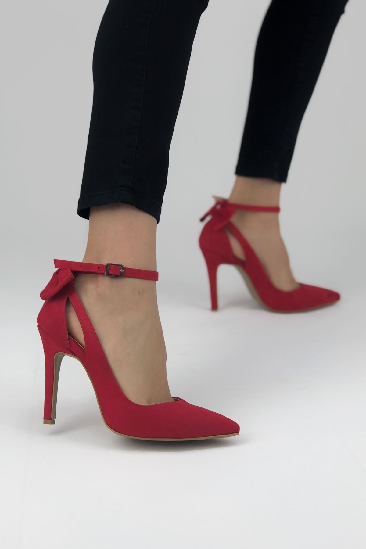 Luther Papyonlu Kırmızı Süet Kadın Ayakkabı