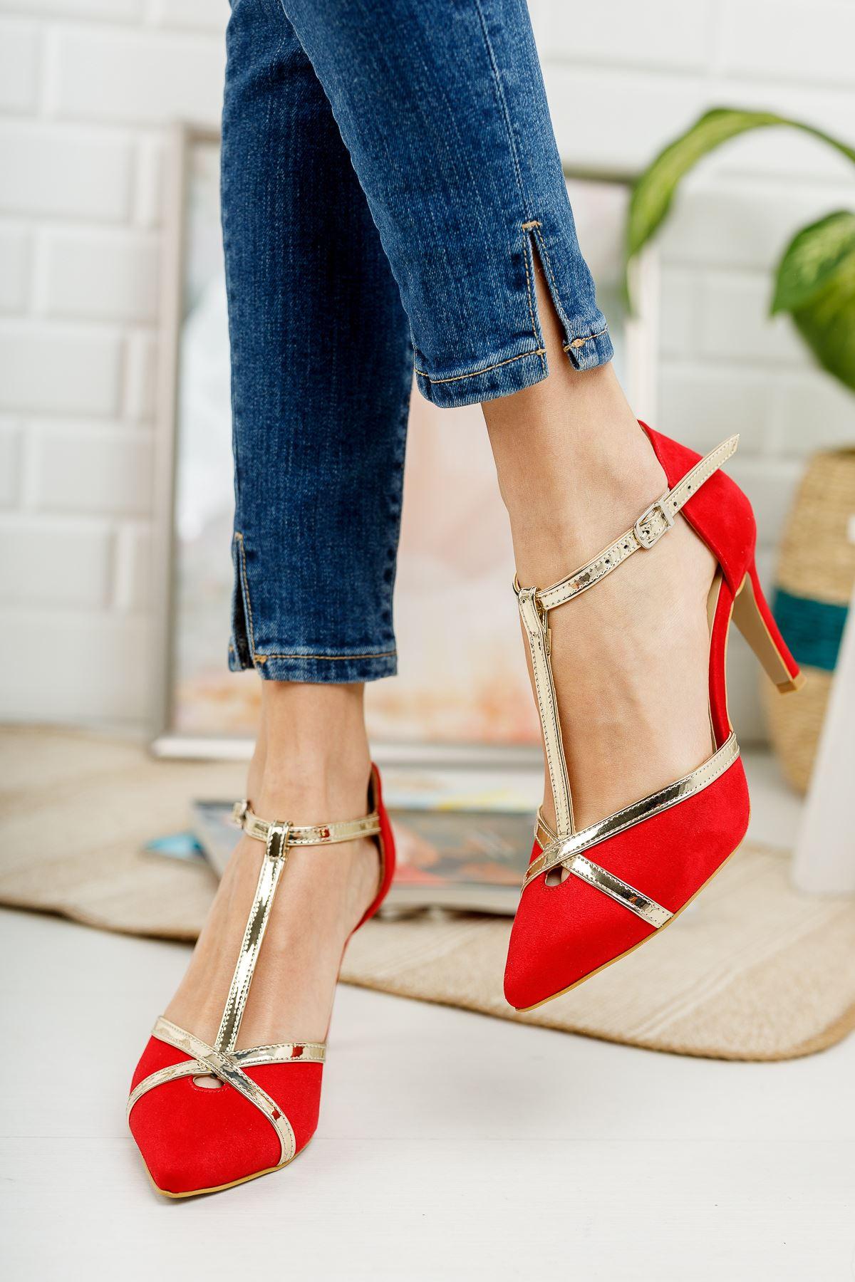 Toronto Kırmızı Süet Altın Baretli Sivri Burun Topuklu Ayakkabı