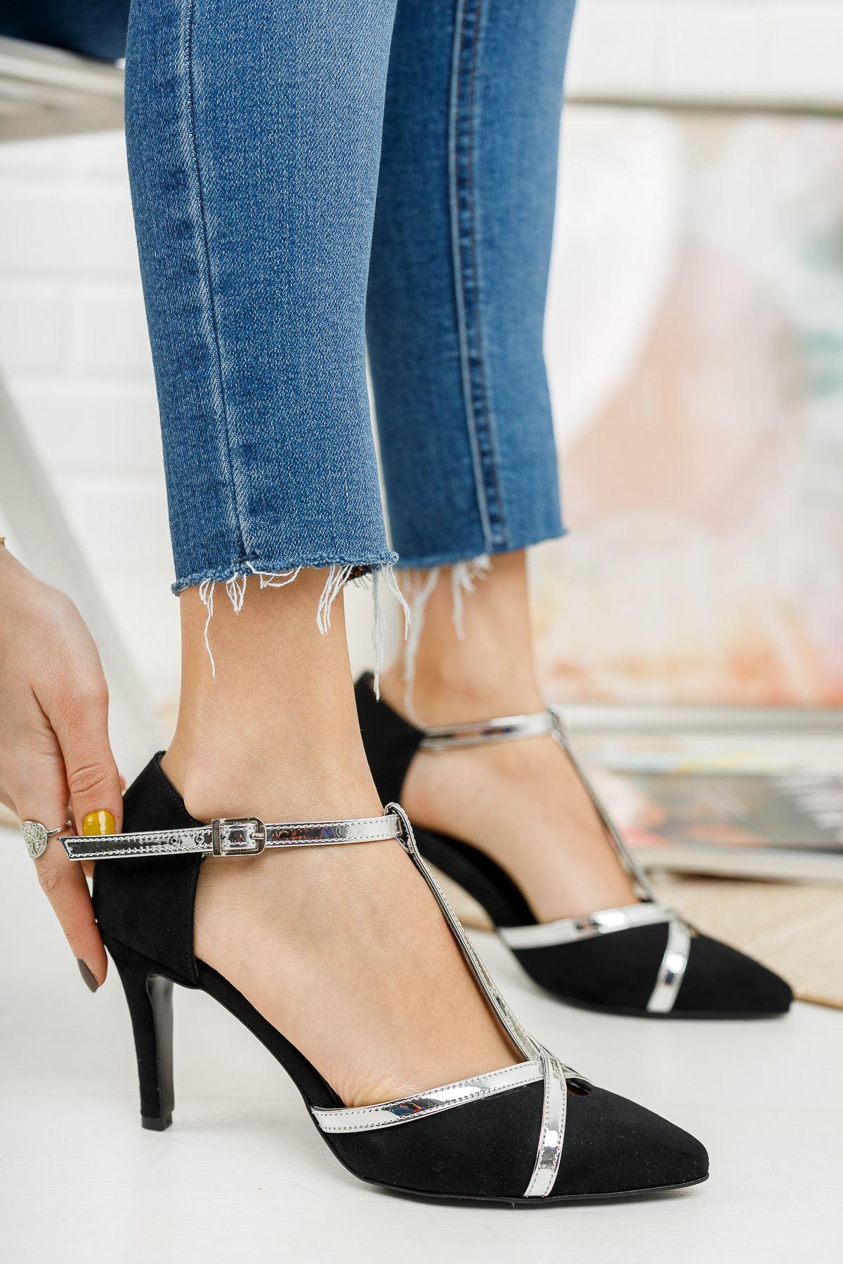 Toronto Siyah Süet Gümüş Baretli Sivri Burun Topuklu Ayakkabı