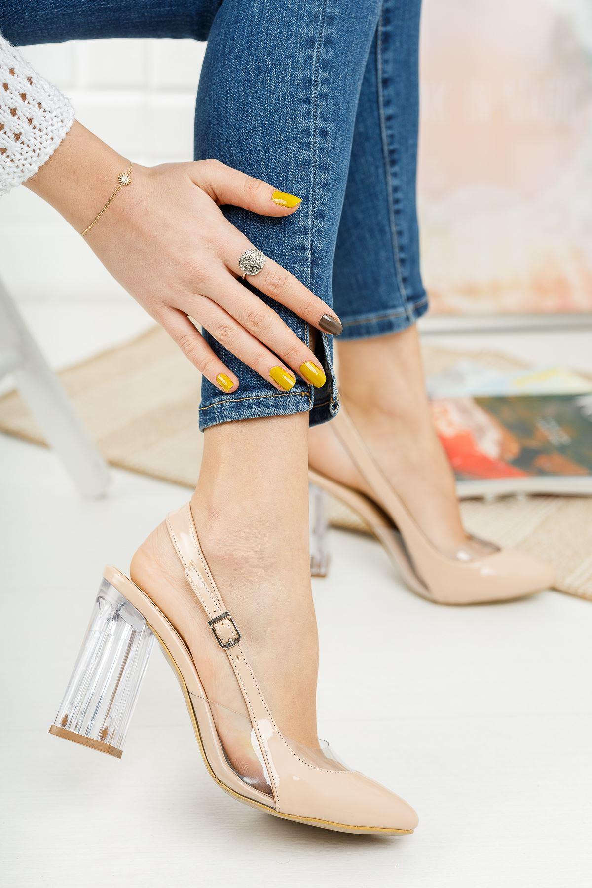 Vanolya Ten Rugan Şeffaf Topuklu Sivri Burun Topuklu Ayakkabı