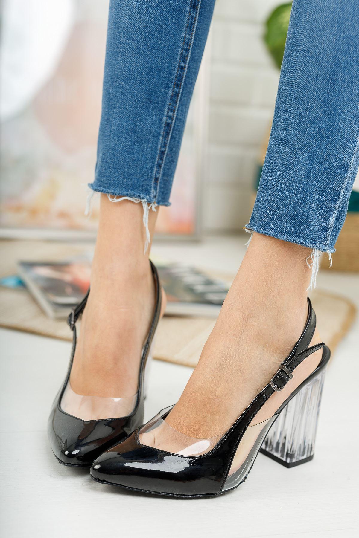 Vanolya Siyah Rugan Şeffaf Topuklu Sivri Burun Topuklu Ayakkabı