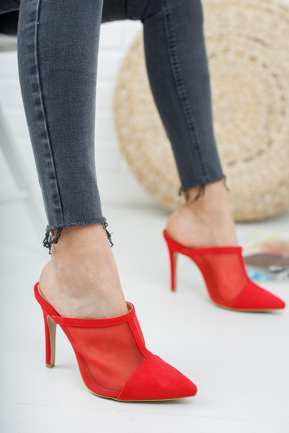 İlevas Kırmızı Süet Kırmızı Fileli Topuklu Kadın Terlik