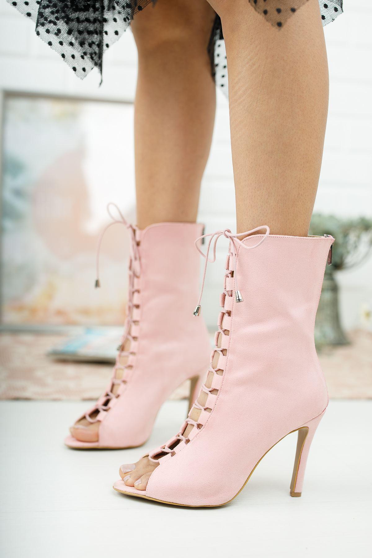 Brisa Pembe Süet Topuklu Ayakkabı