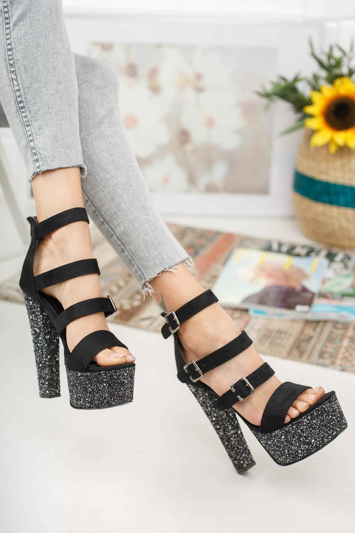 Khayla Siyah Süet Platin Taş Yüksek Topuklu Kadın Ayakkabı