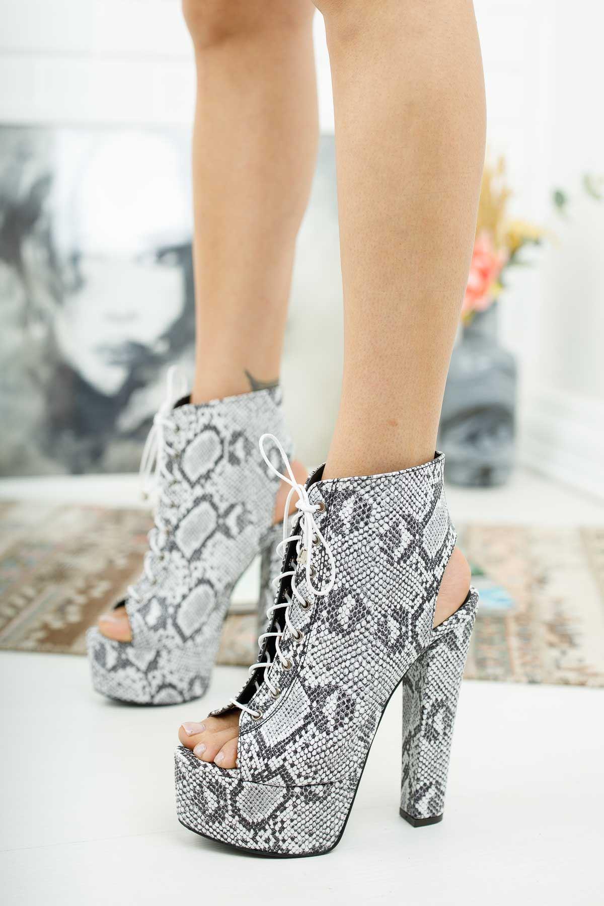 Tatum Yılan Desenli Yüksek Topuklu Kadın Ayakkabı