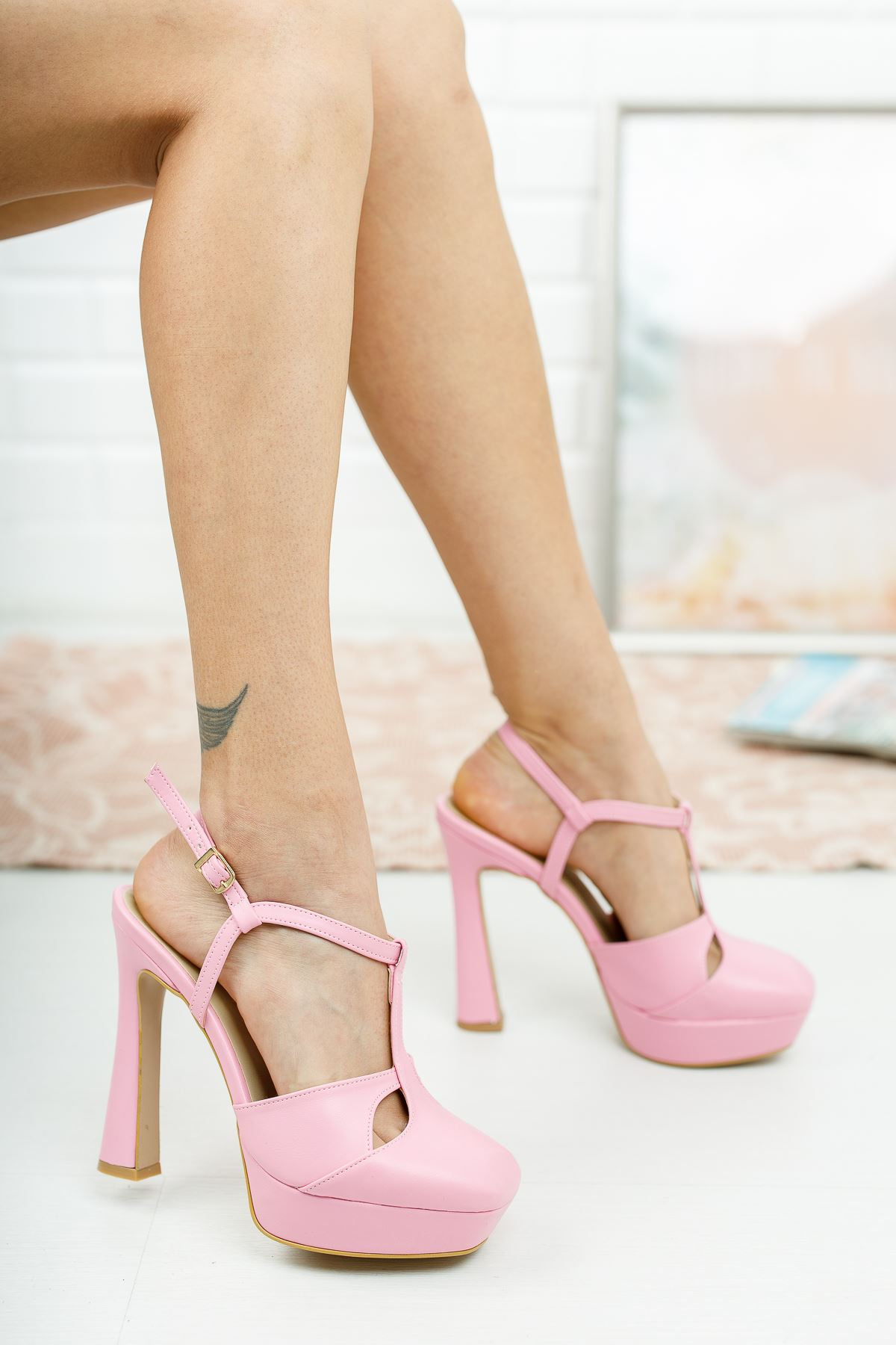 Orfila Pembe Cilt Topuklu Ayakkabı