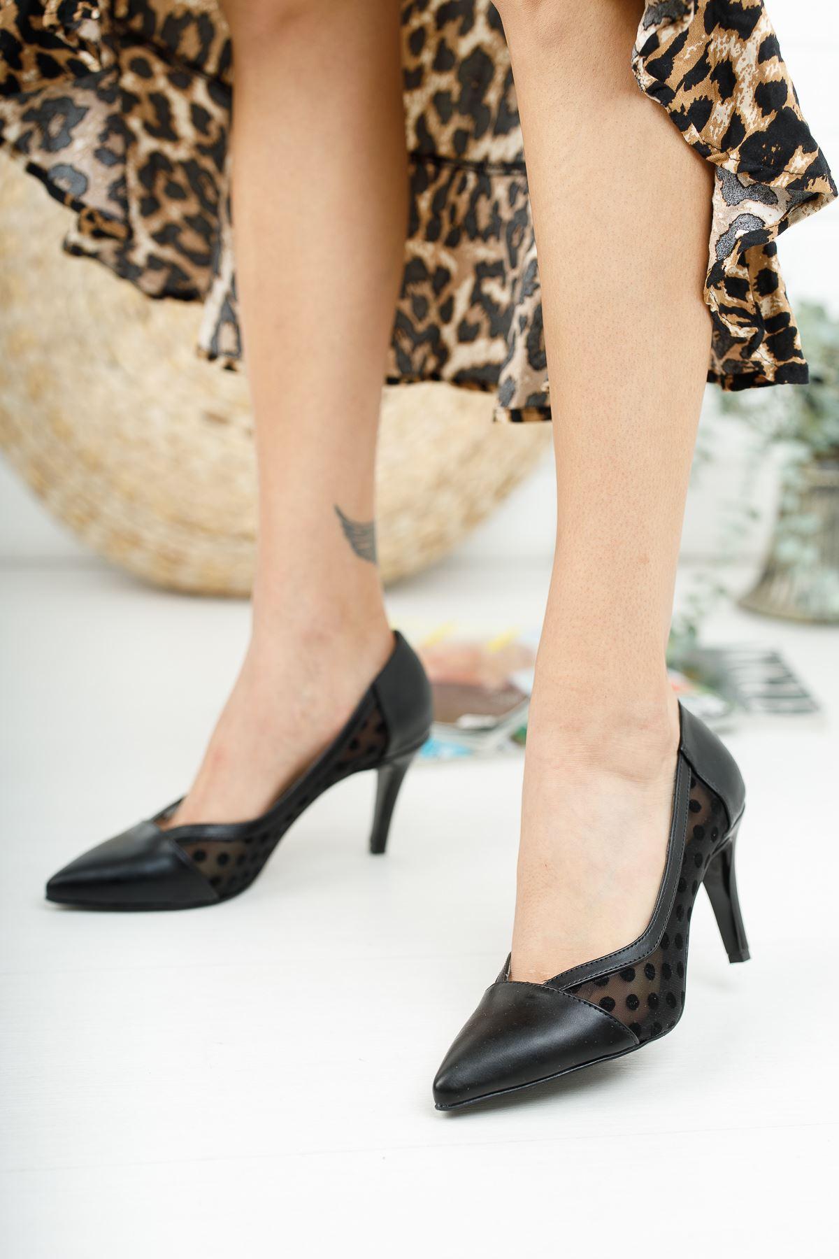 Cody Siyah Cilt Kısa Topuklu Kadın Ayakkabı