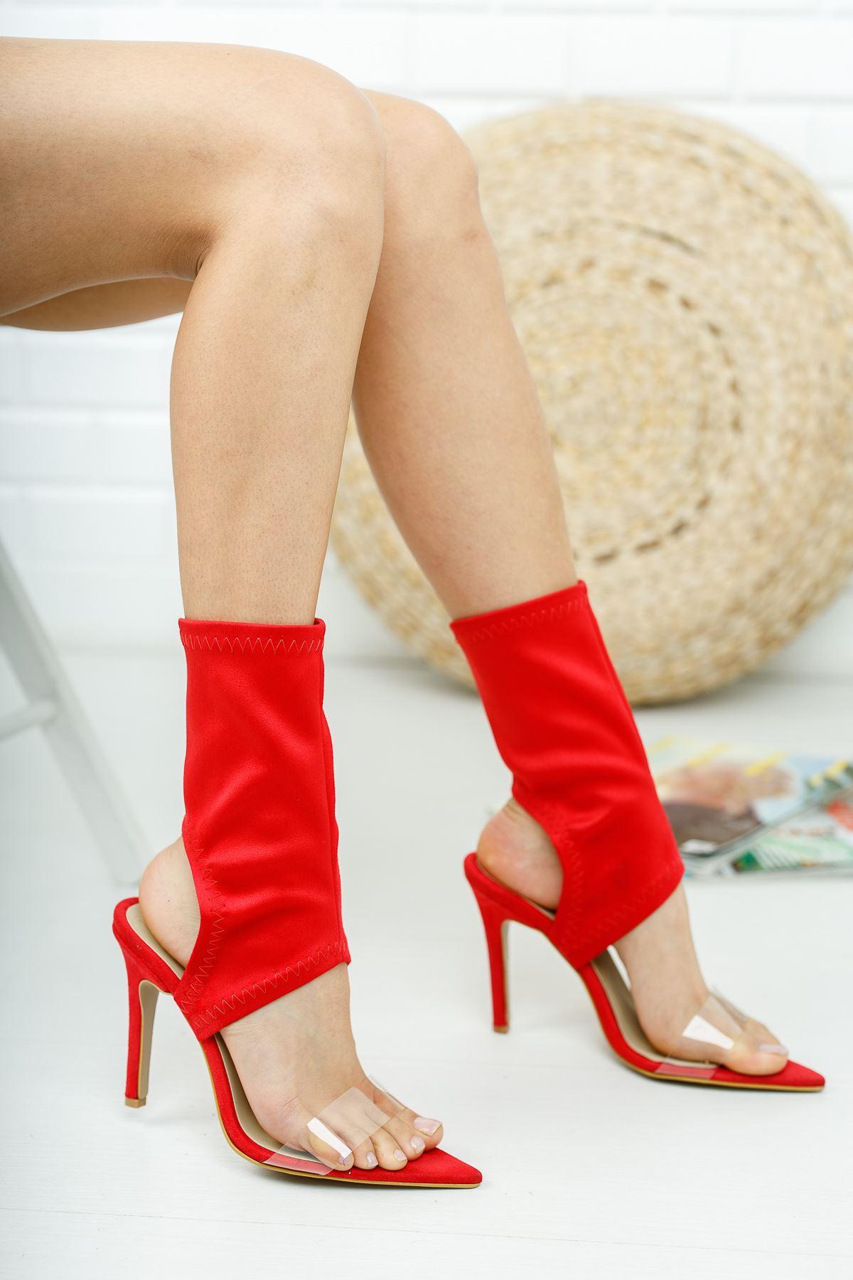 Torah Kırmızı Süet Topuklu Ayakkabı