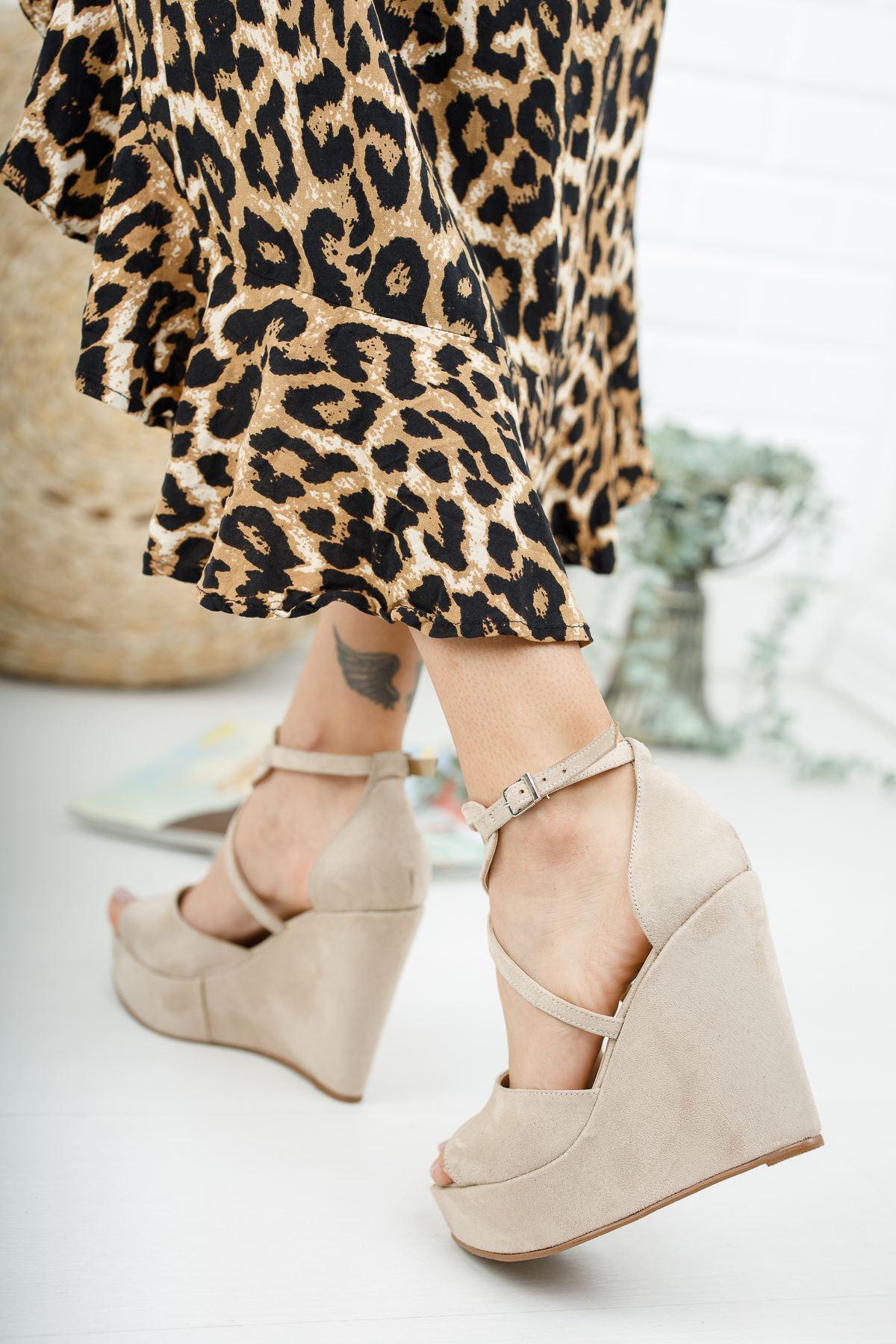 Hailey Ten Süet Dolgu Topuklu Ayakkabı