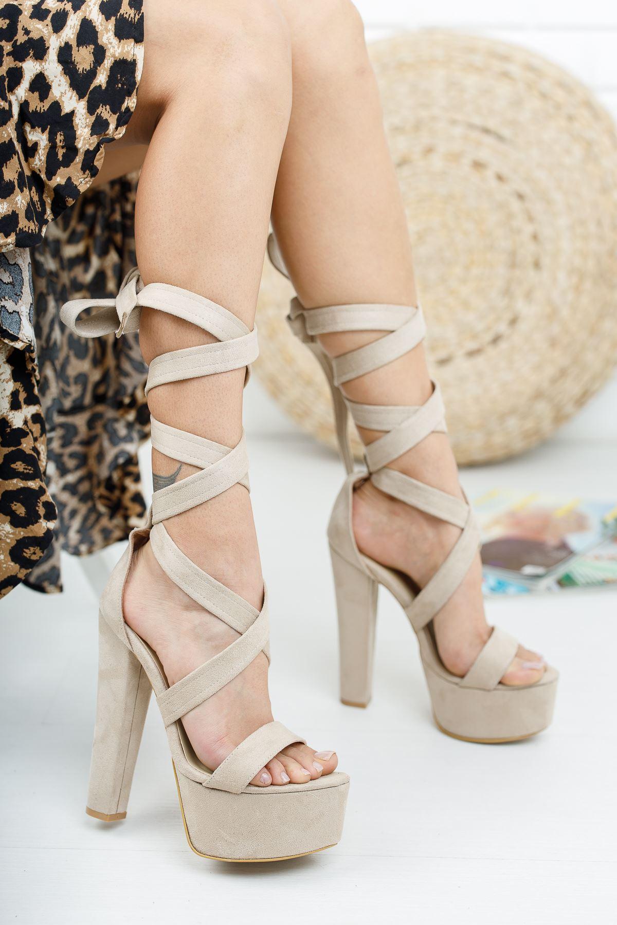 Kalit Ten Süet Yüksek Topuklu Kadın Ayakkabı
