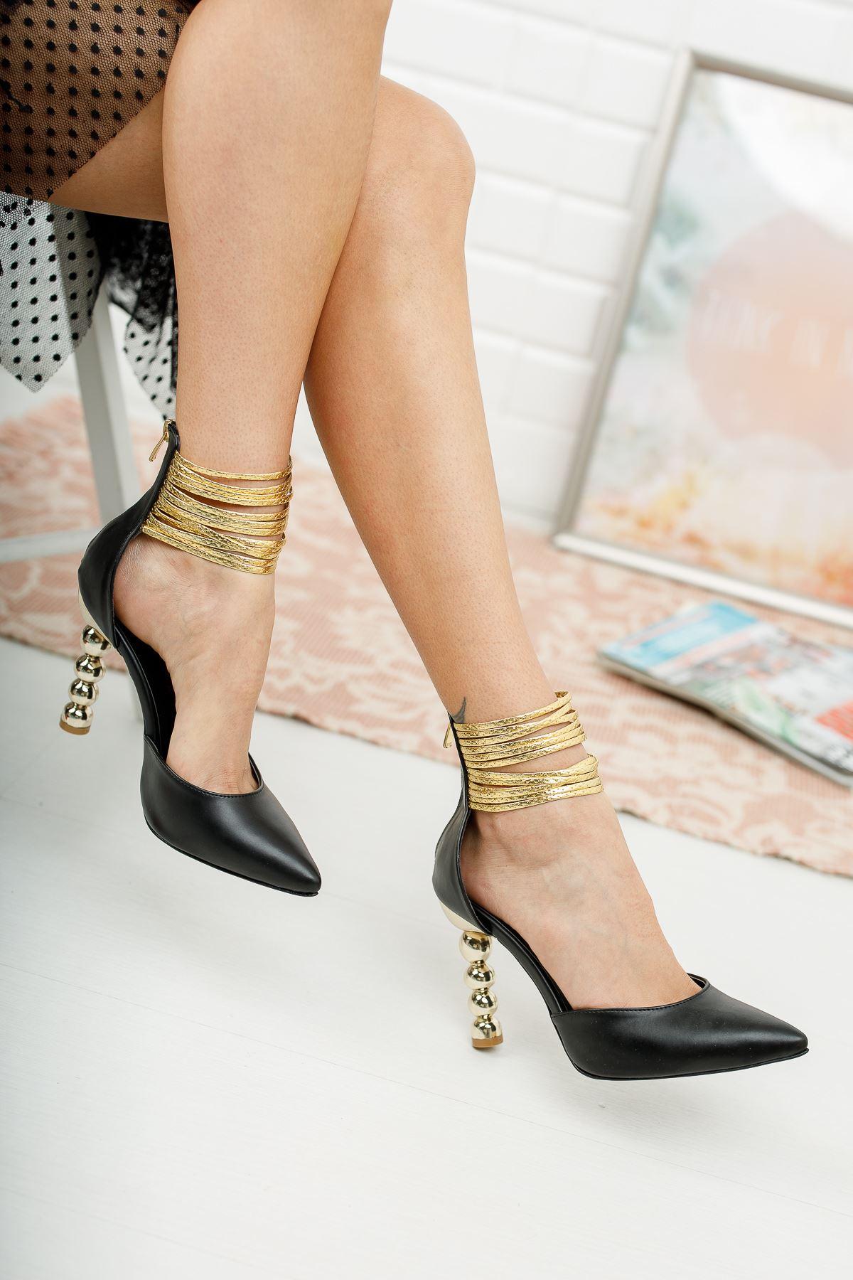 Miny Siyah Cilt Topuklu Ayakkabı Stiletto