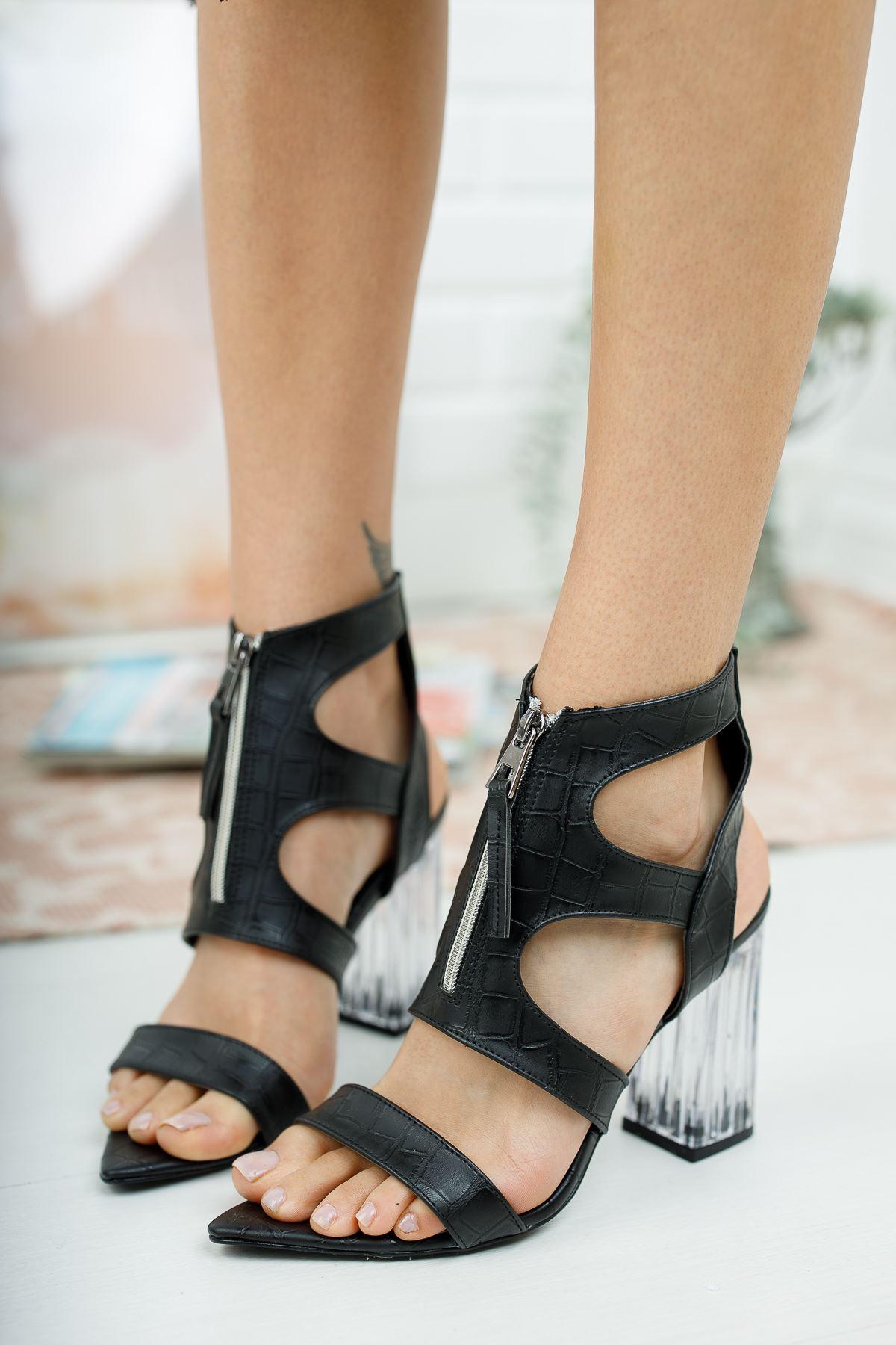 Alec Siyah Krokodil Şeffaf Topuklu Kadın Ayakkabı