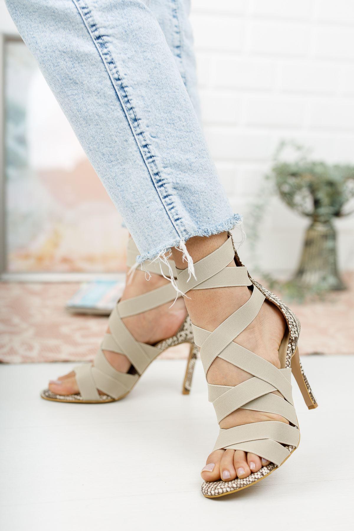 Rasha Ten Yılan Lastikli Topuklu Ayakkabı