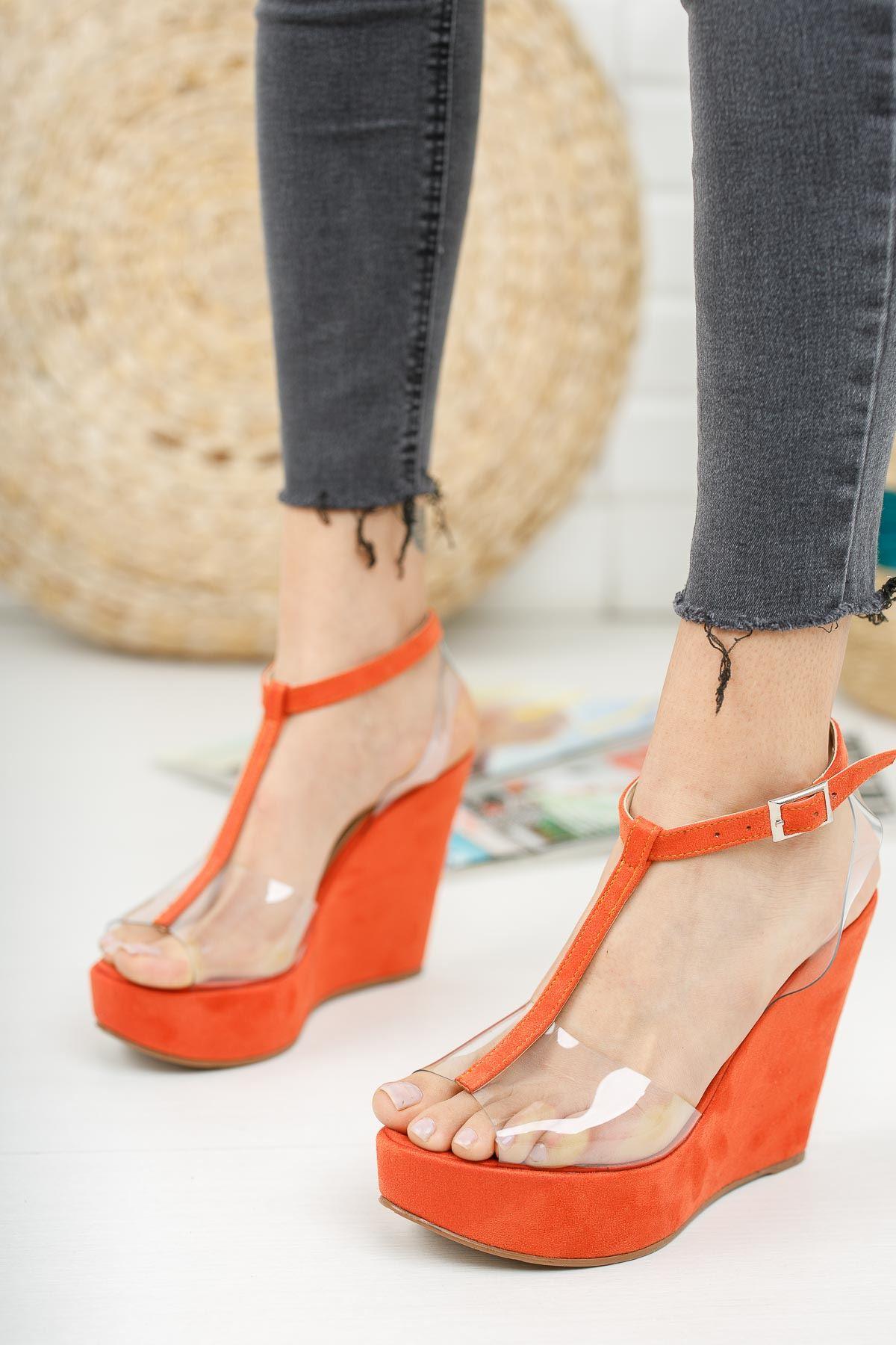 Mason Turuncu Şeffaf Dolgu Topuklu Ayakkabı