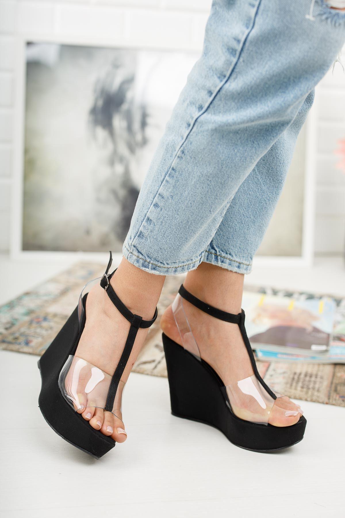 Mason Siyah Şeffaf Dolgu Topuklu Ayakkabı
