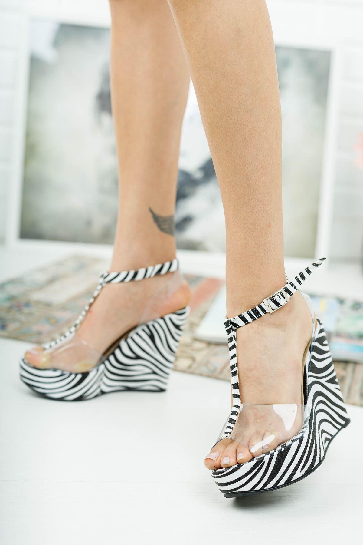 Mason Zebra Şeffaf Dolgu Topuklu Ayakkabı