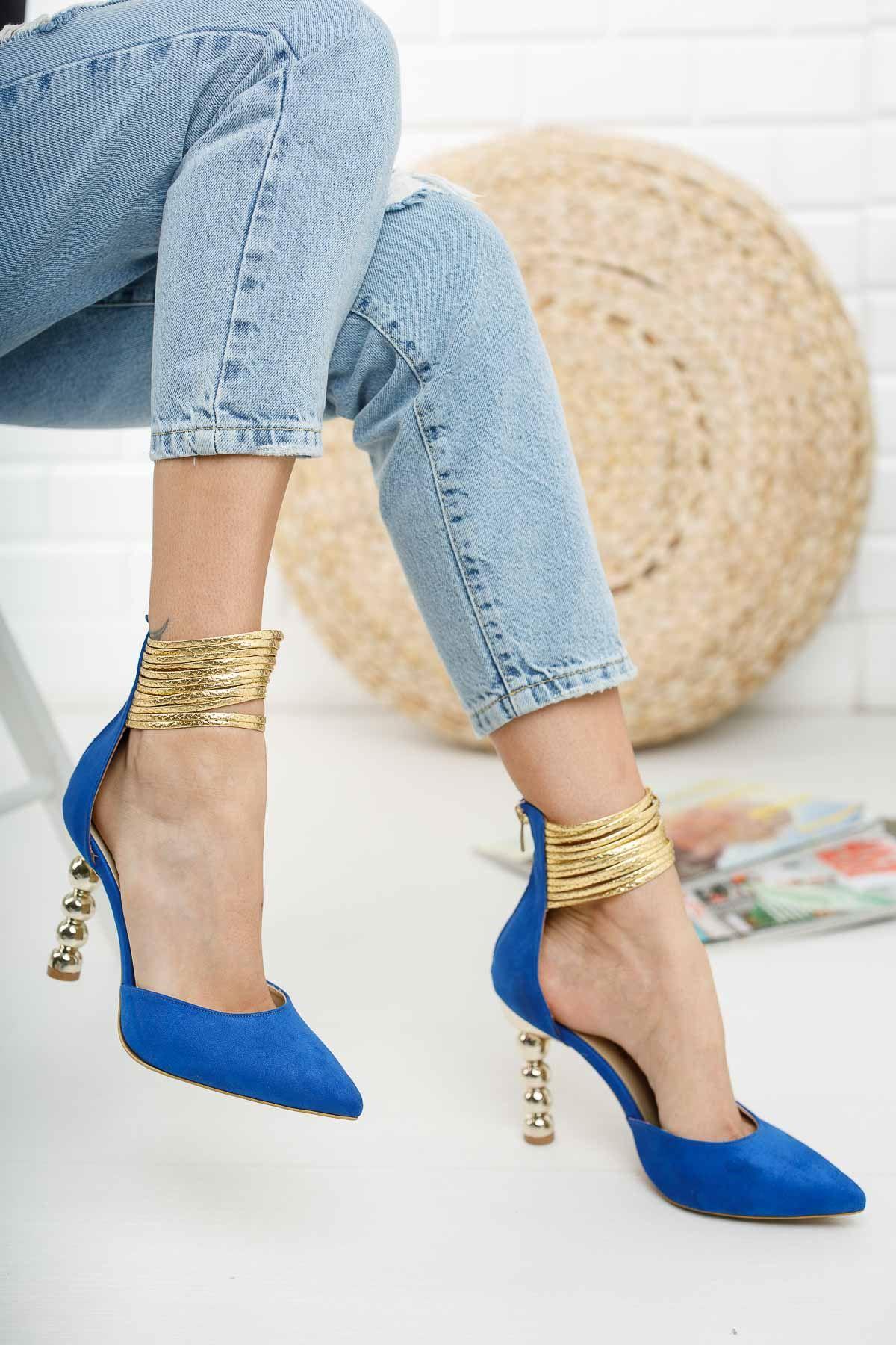 Miny Sax Mavi Süet Topuklu Ayakkabı Stiletto