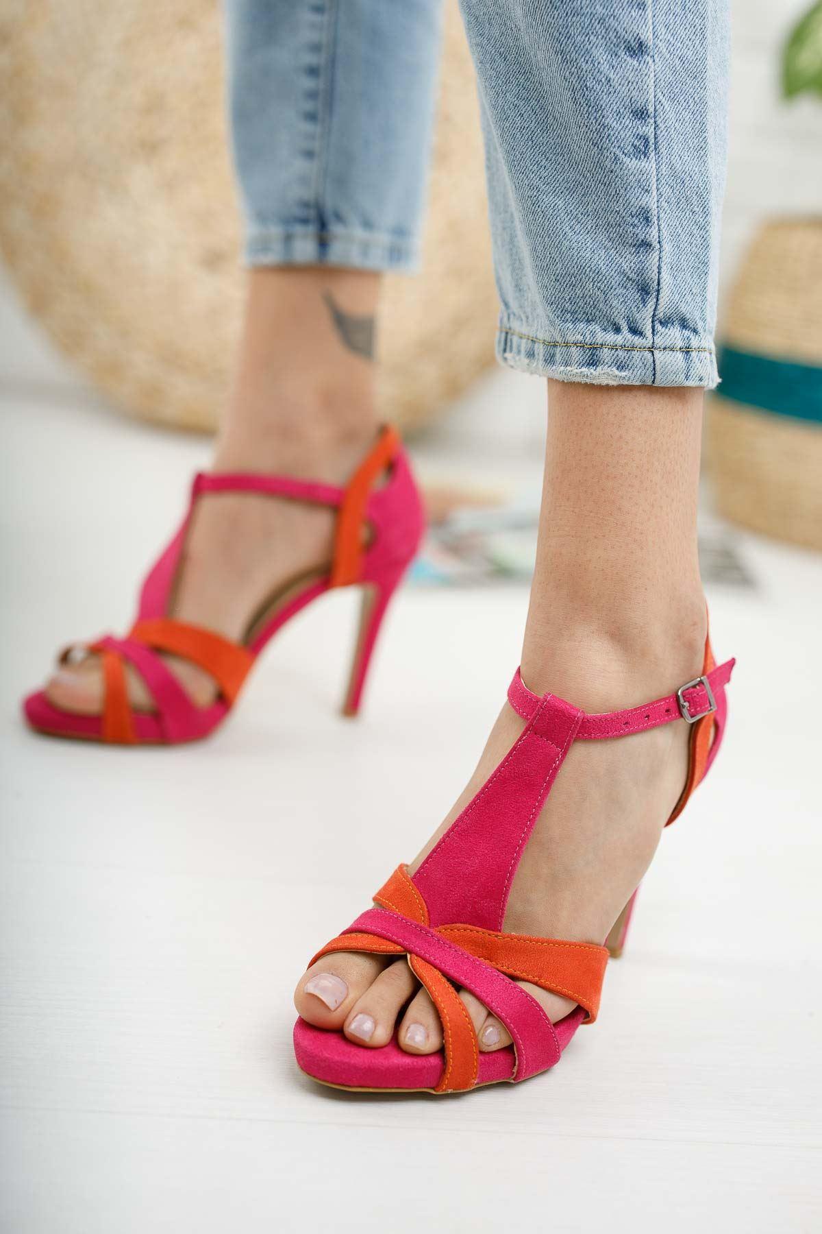 Detras Fuşya Turuncu Süet Topuklu Kadın Ayakkabı