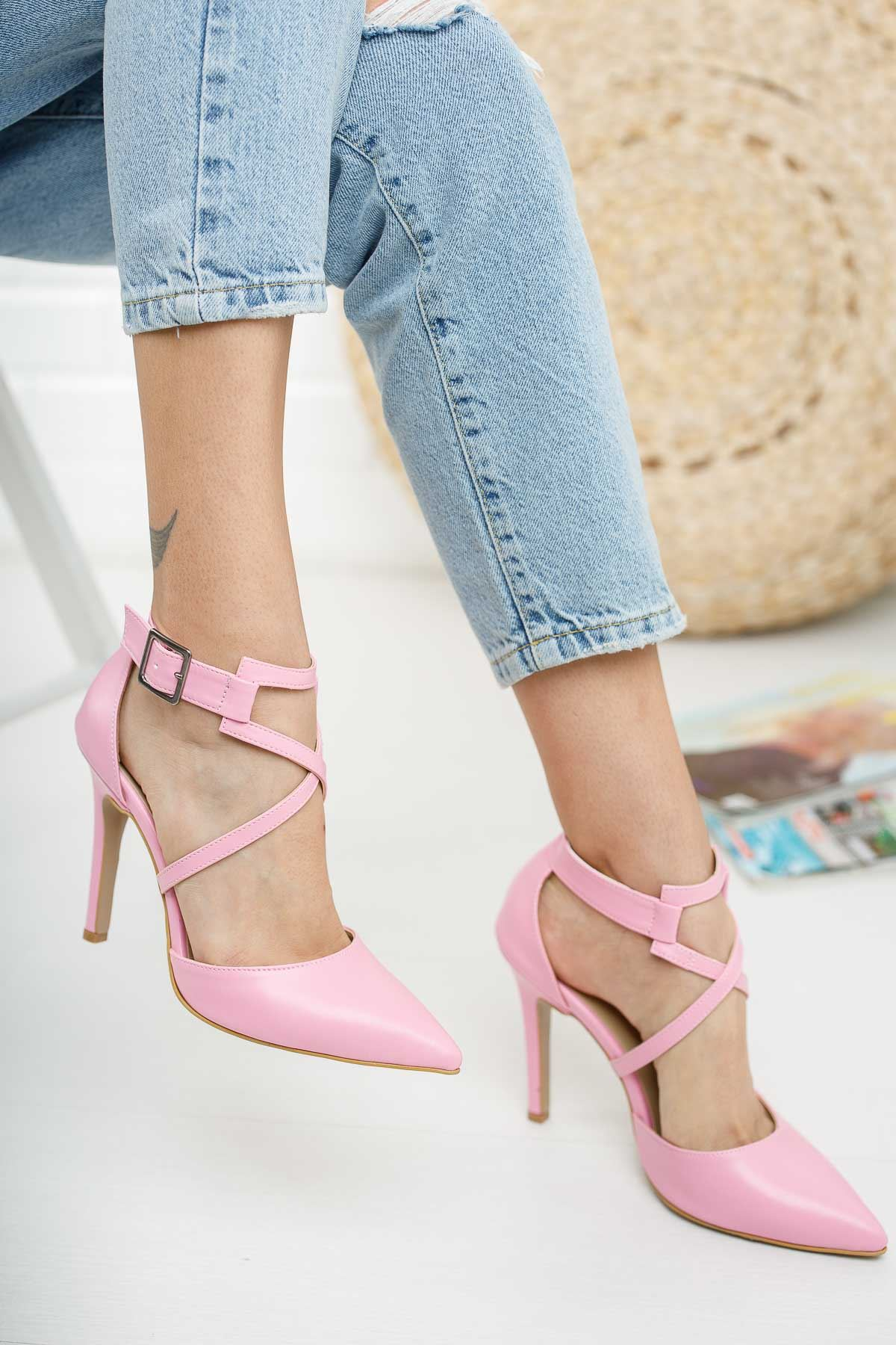 Edrie Pembe Cilt Topuklu Ayakkabı Stiletto