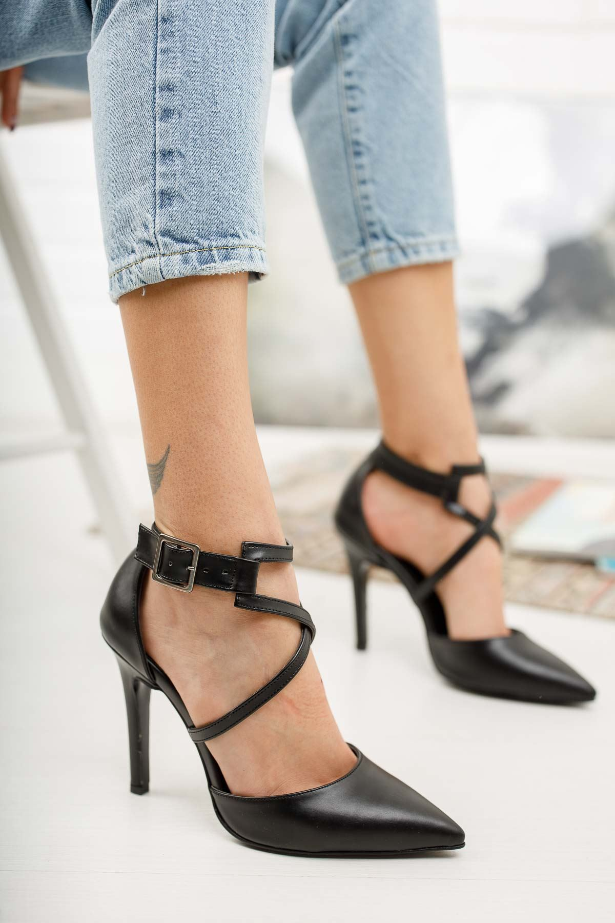 Edrie Siyah Cilt Topuklu Ayakkabı Stiletto