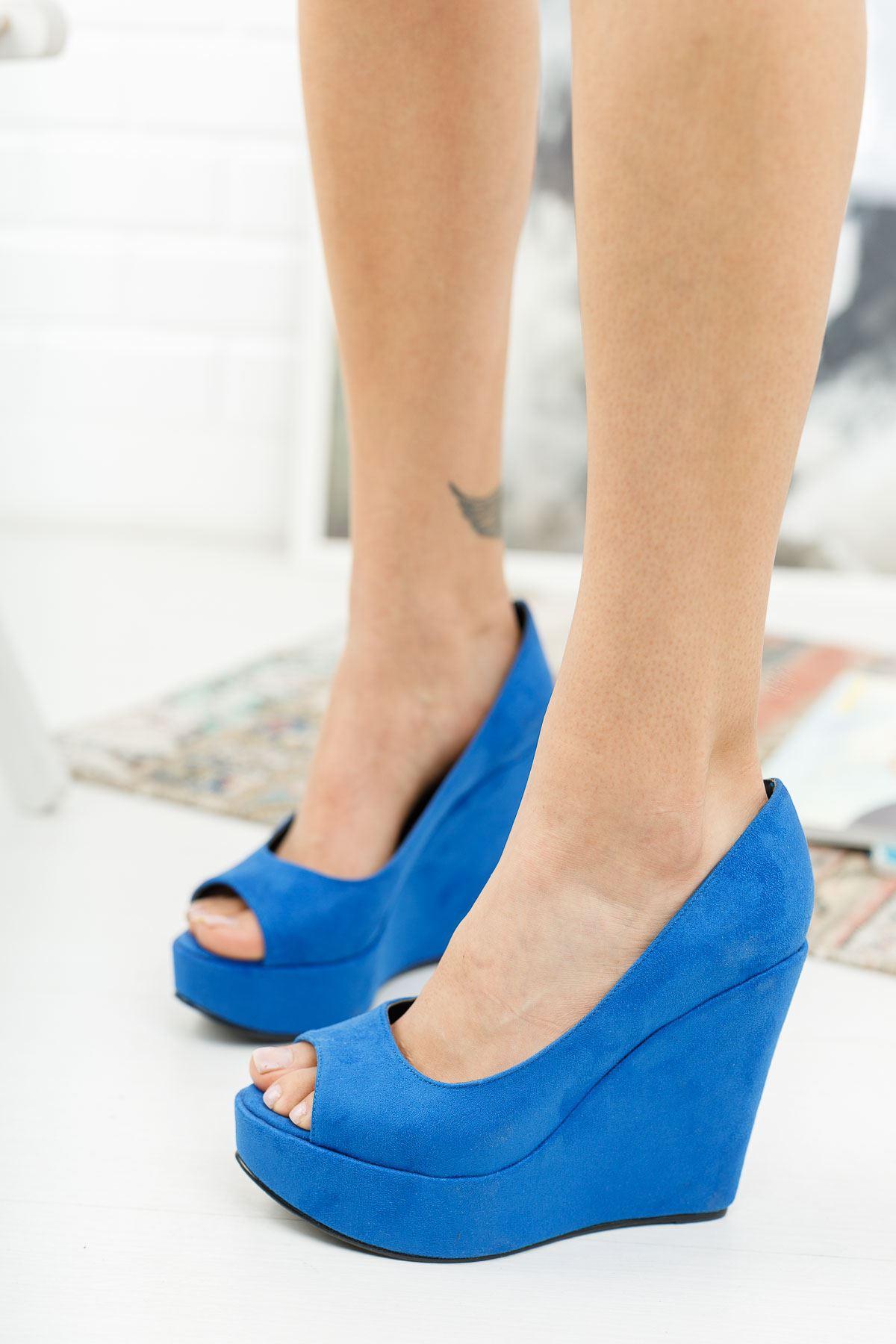Marvel Sax Mavi Süet Dolgu Topuklu Ayakkabı