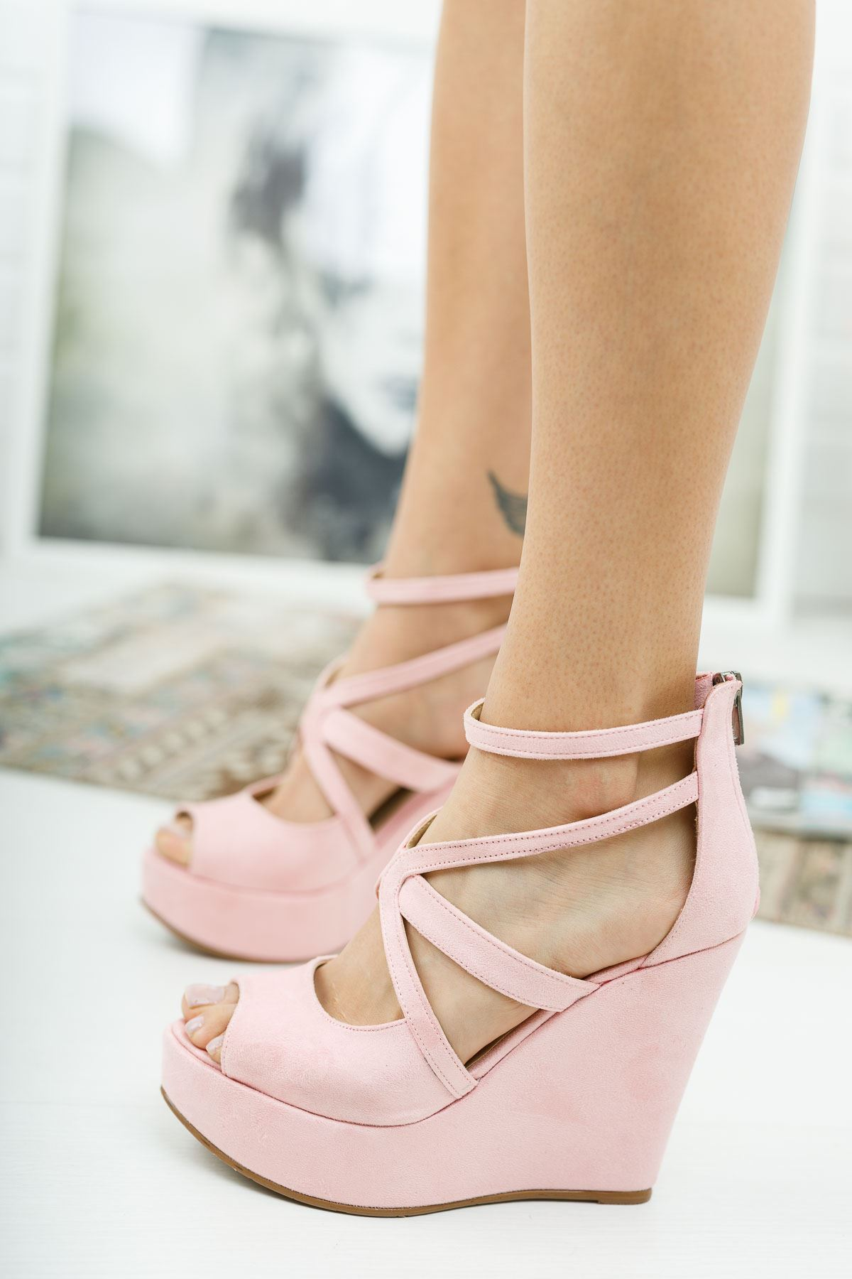 Parsil Pudra Süet Dolgu Topuklu Ayakkabı