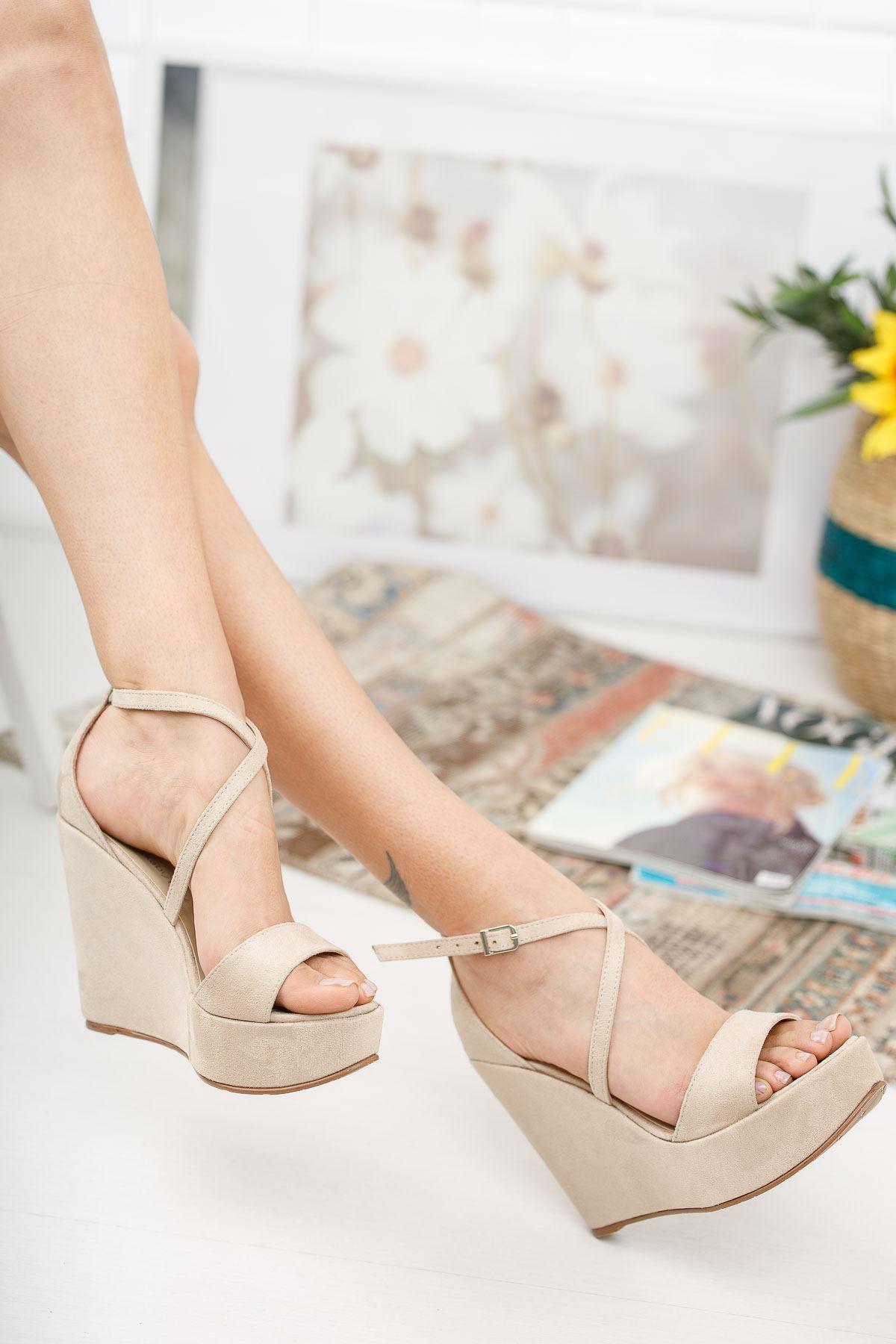 Mable Ten Süet Dolgu Topuklu Ayakkabı