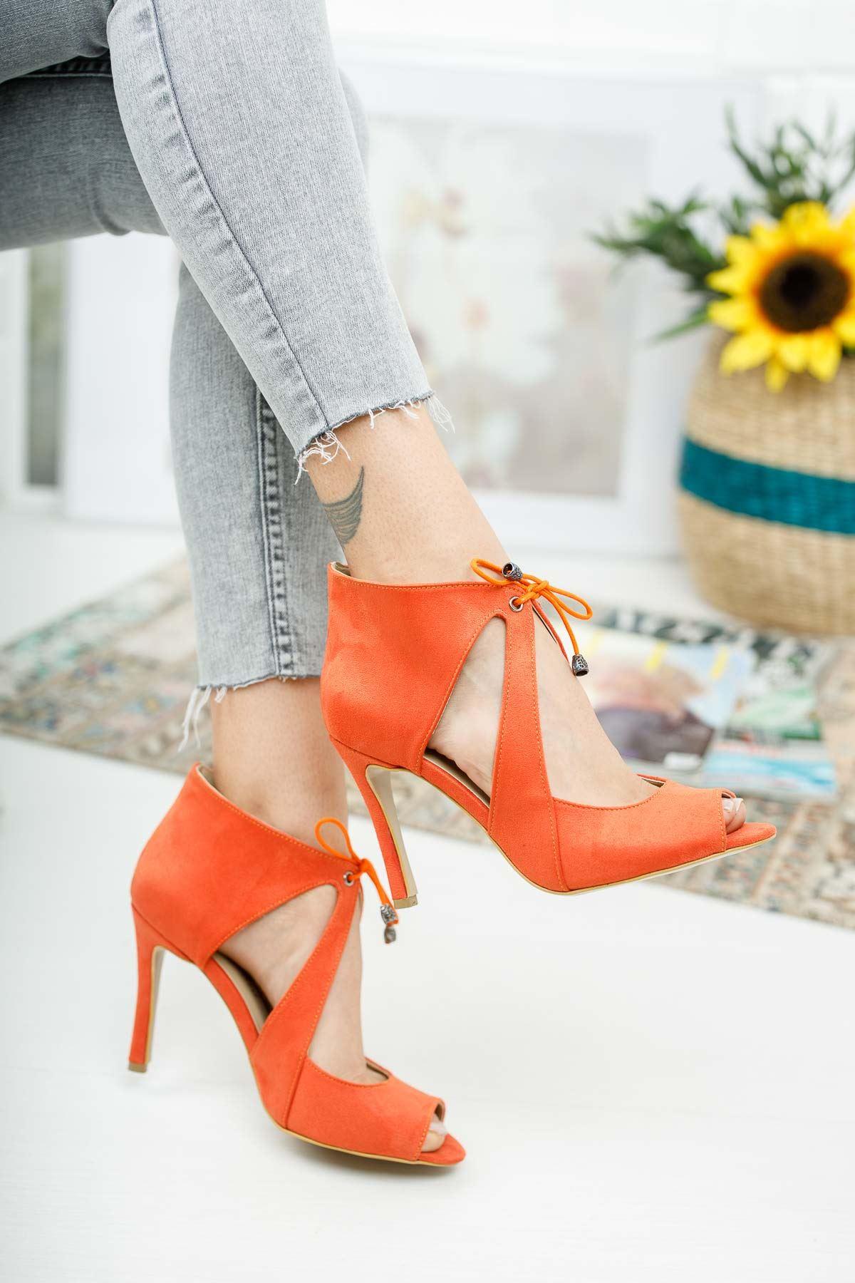 Eryas Turuncu Süet Topuklu Ayakkabı