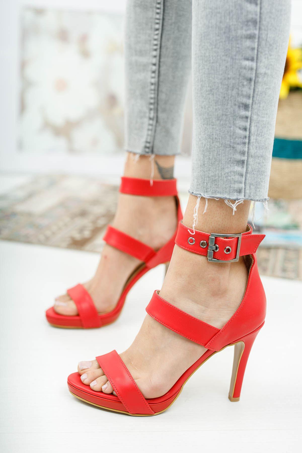 Giorgia Kırmızı Cilt Topuklu Ayakkabı