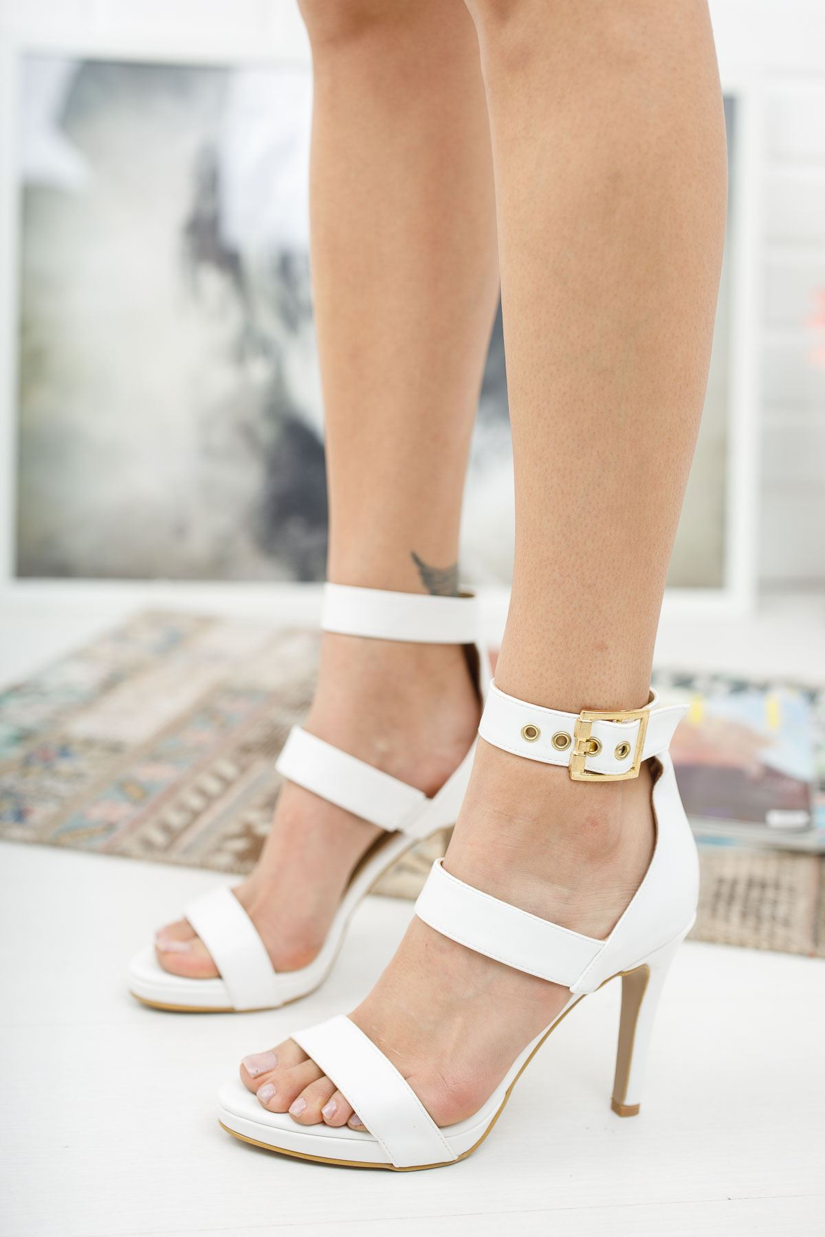 Giorgia Beyaz Cilt Topuklu Ayakkabı