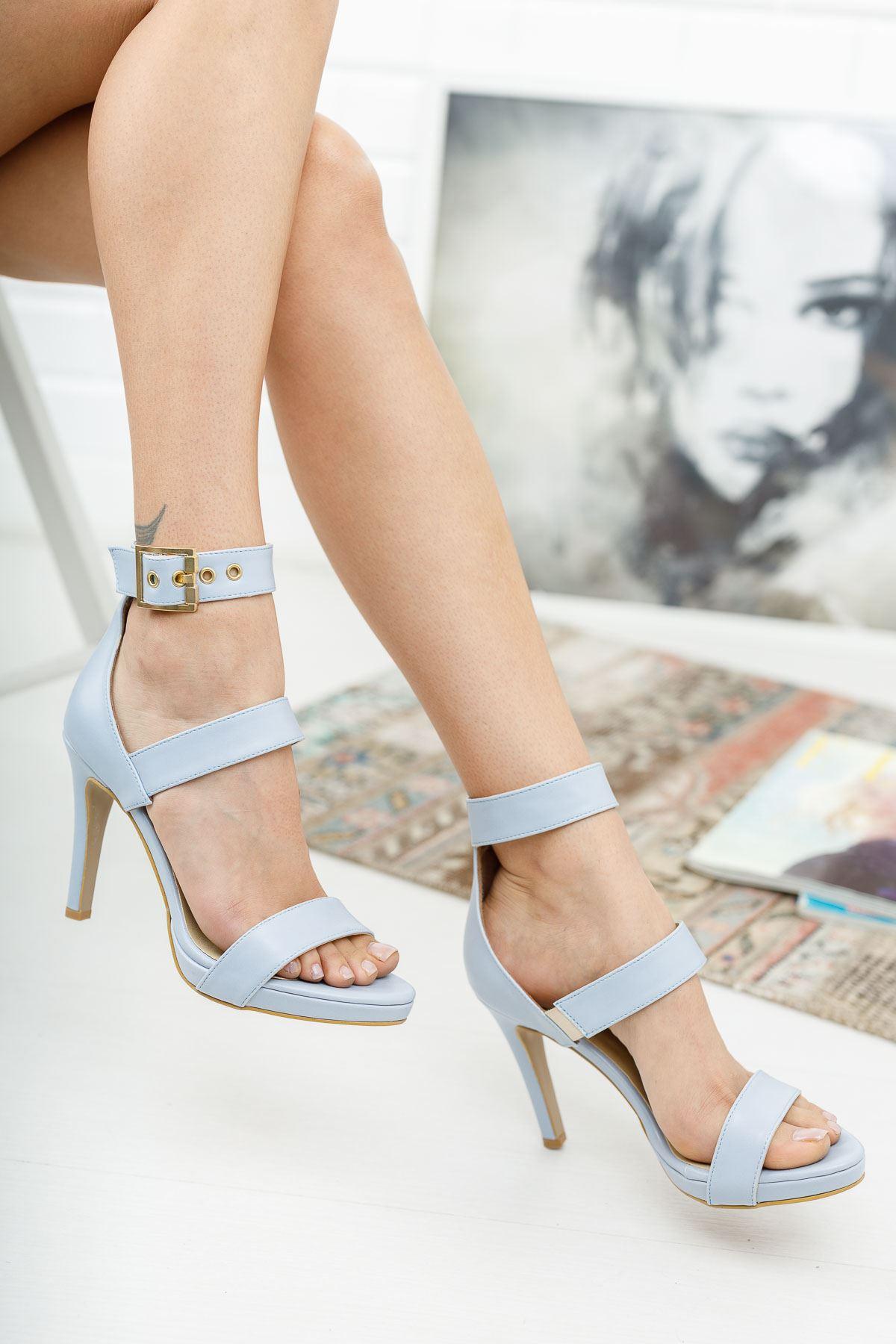 Giorgia Bebe Mavi Cilt Topuklu Ayakkabı