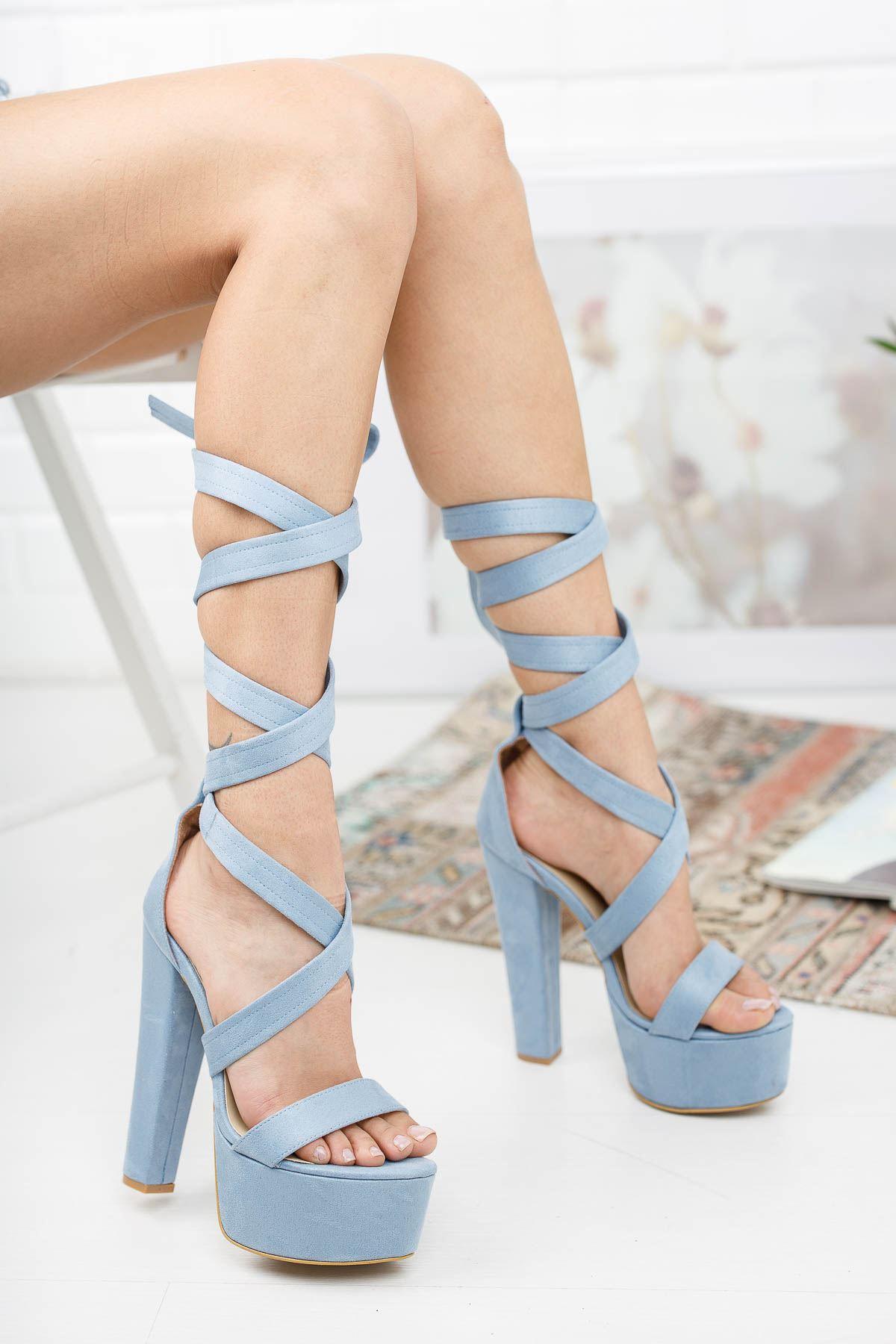 Kalit Bebe Mavi Süet Topuklu Kadın Ayakkabı