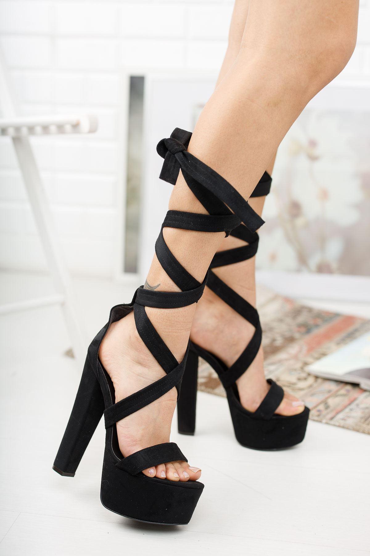 Kalit Siyah Süet Yüksek Topuklu Kadın Ayakkabı