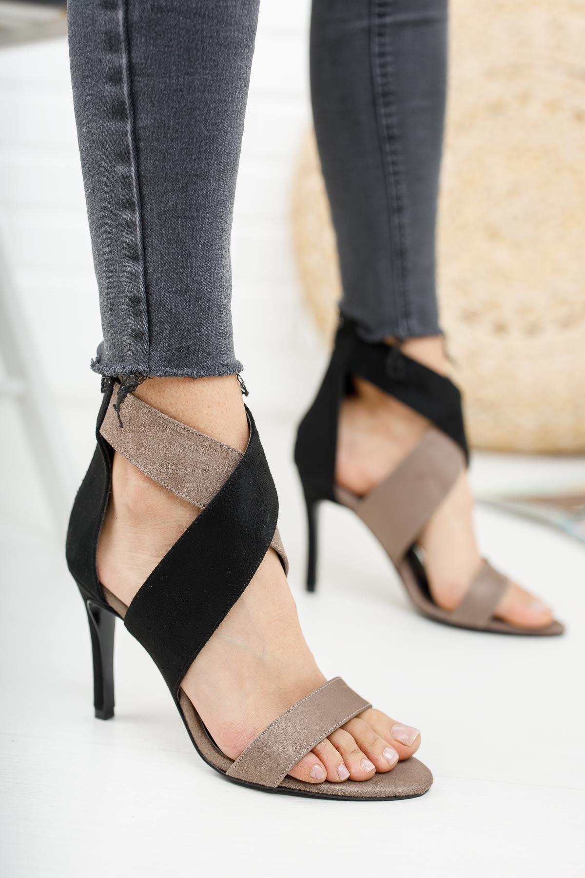 Bloom Siyah Gri Süet Topuklu  Kadın Ayakkabı