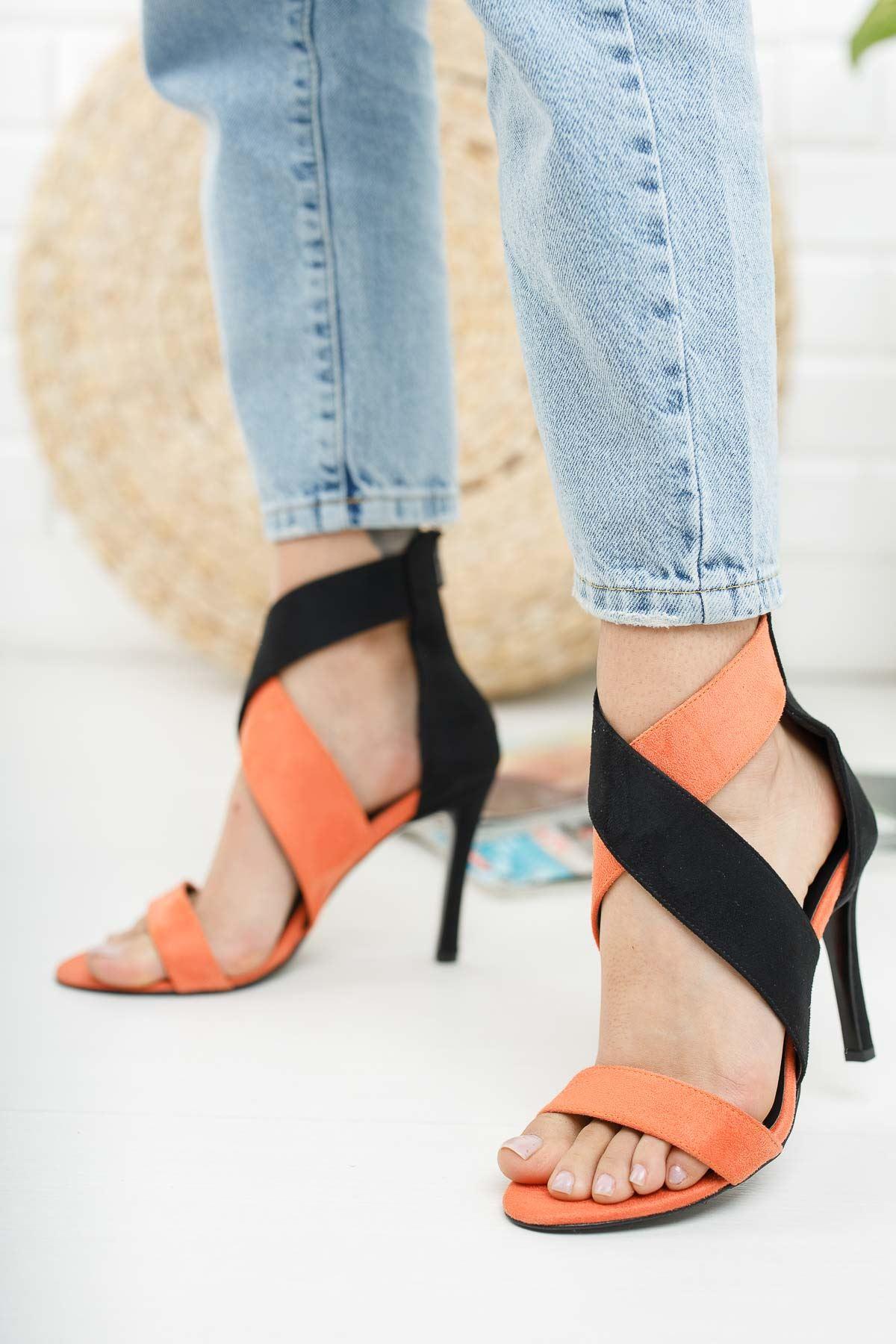Bloom Siyah Turuncu Süet Topuklu Kadın Ayakkabı
