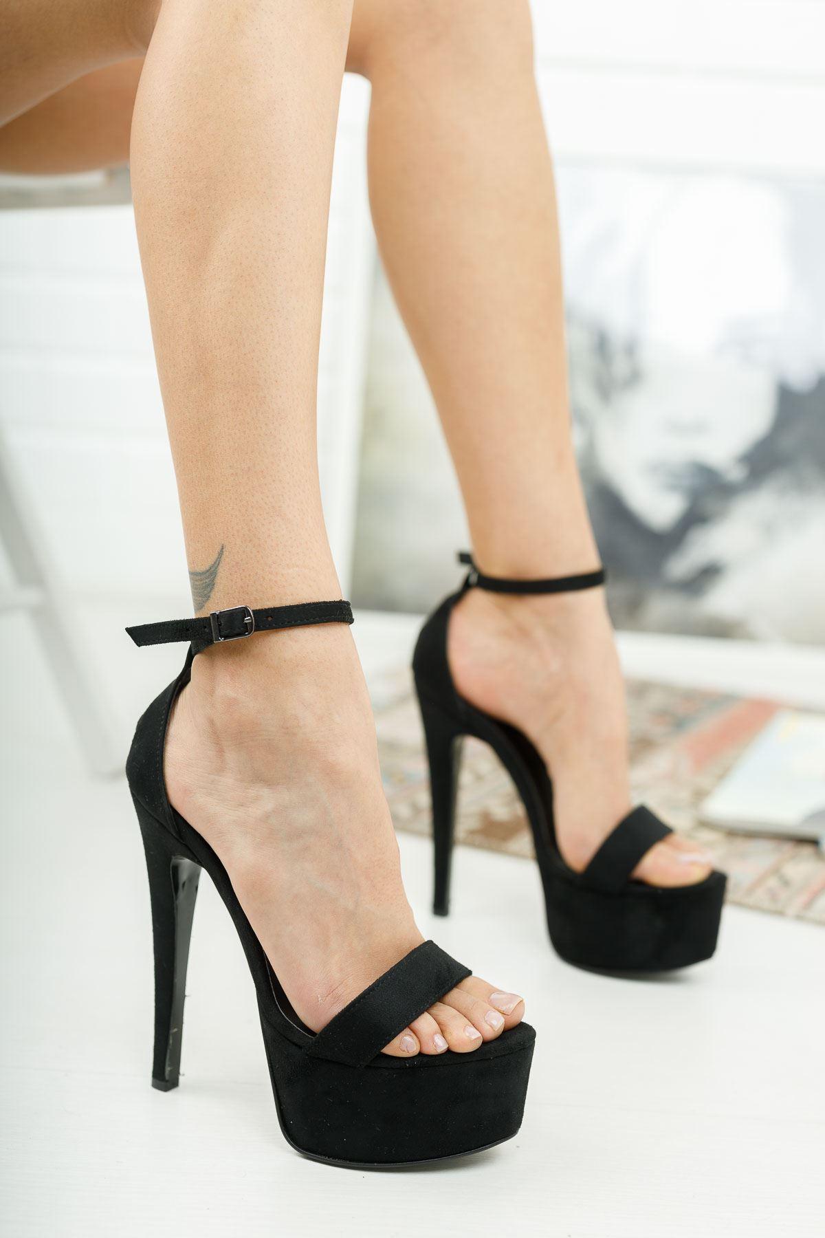 Levans Siyah Süet Yüksek Topuklu Kadın Ayakkabı