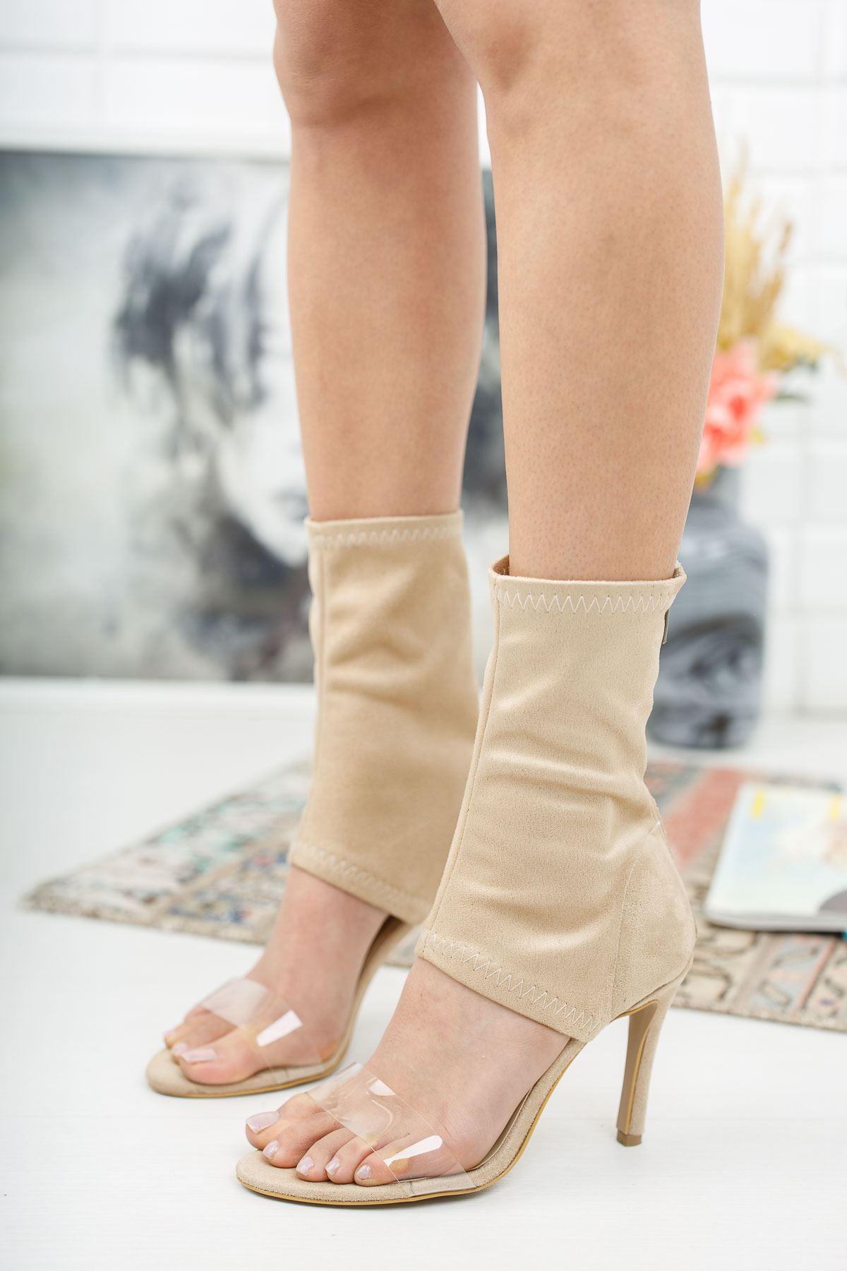 Agnes Ten Süet Topuklu Kadın  Ayakkabı