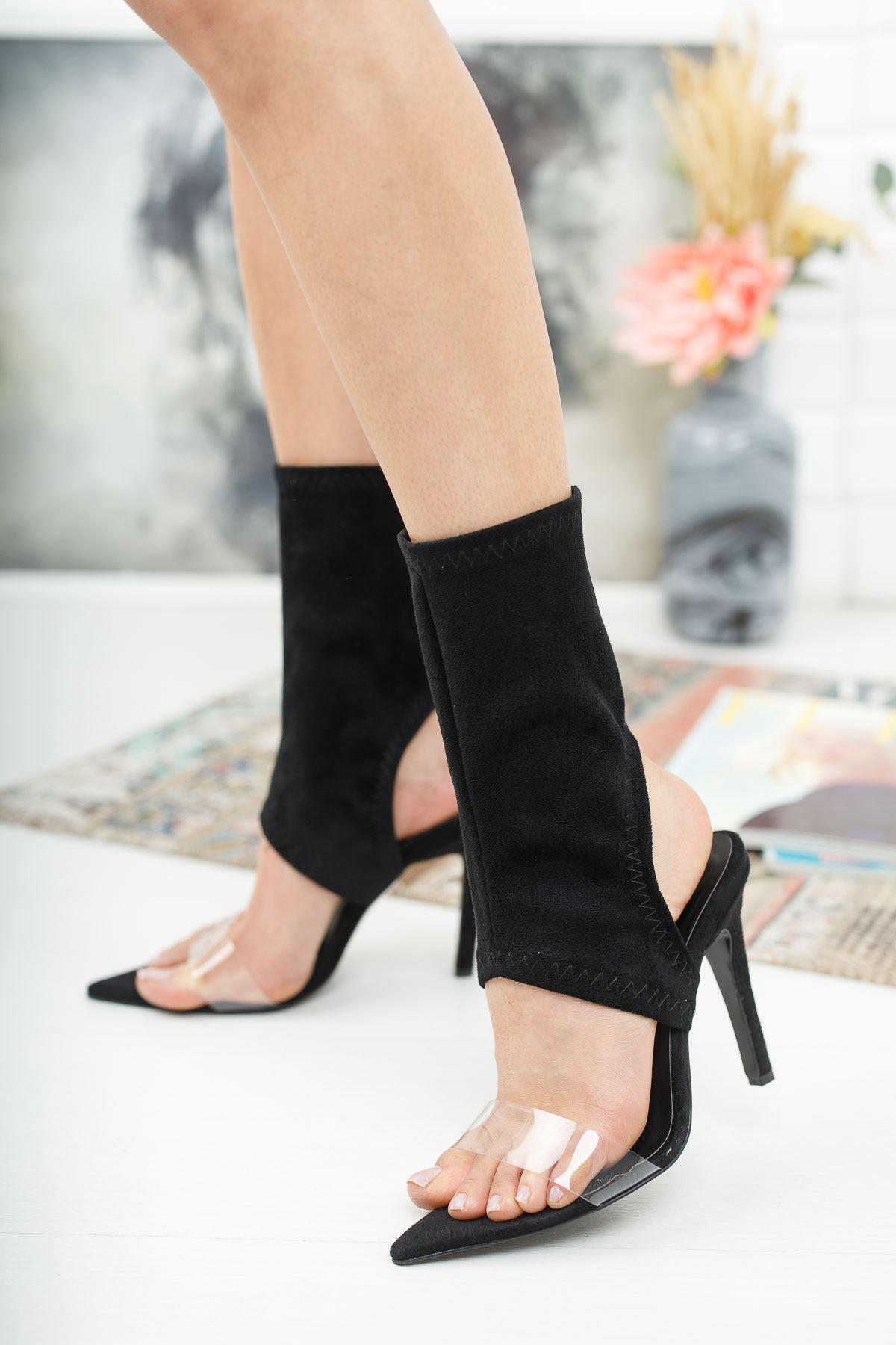 Torah Siyah Süet Topuklu Ayakkabı